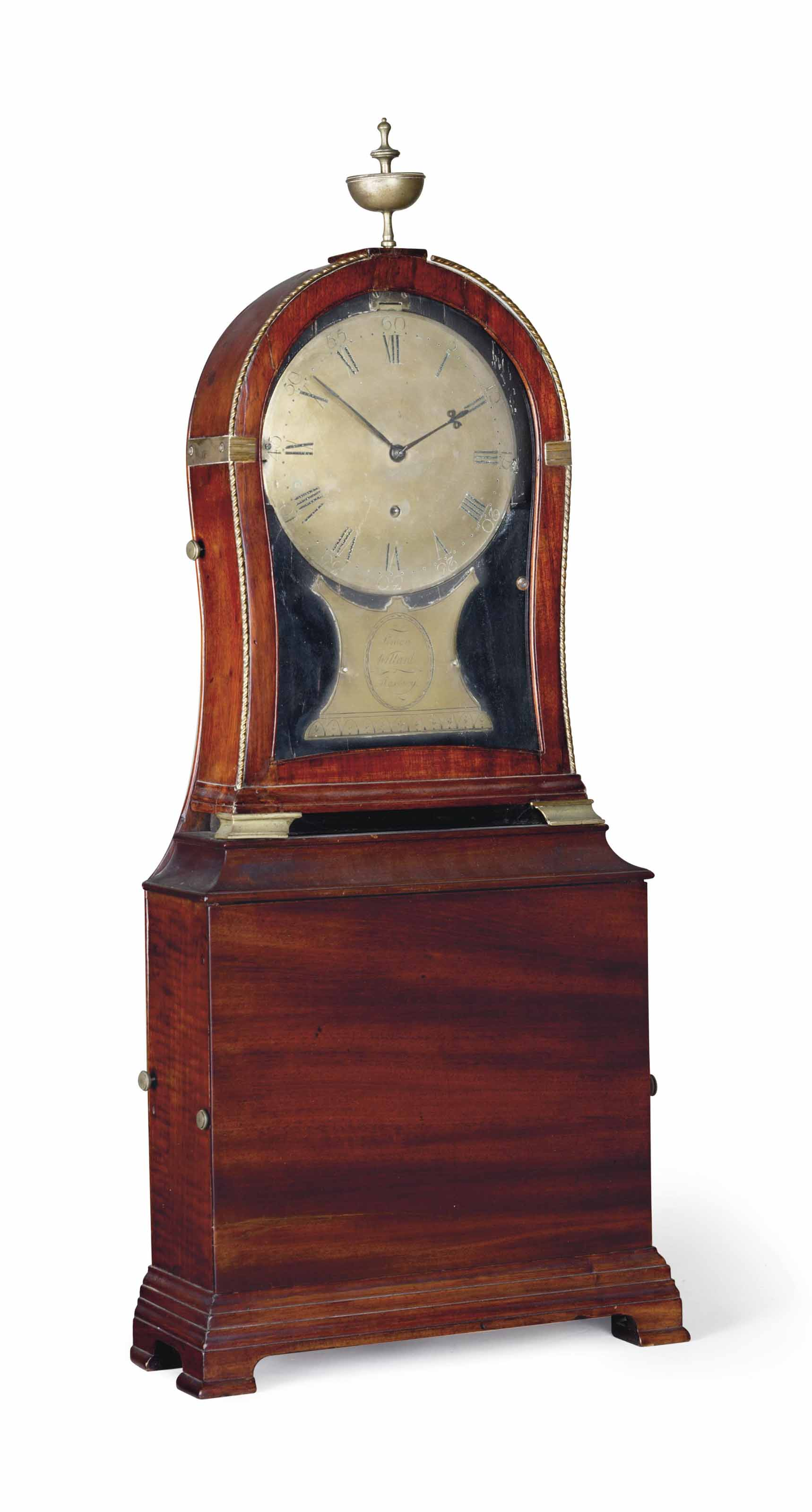 A CHIPPENDALE BRASS-MOUNTED MAHOGANY SHELF TIME PIECE CLOCK