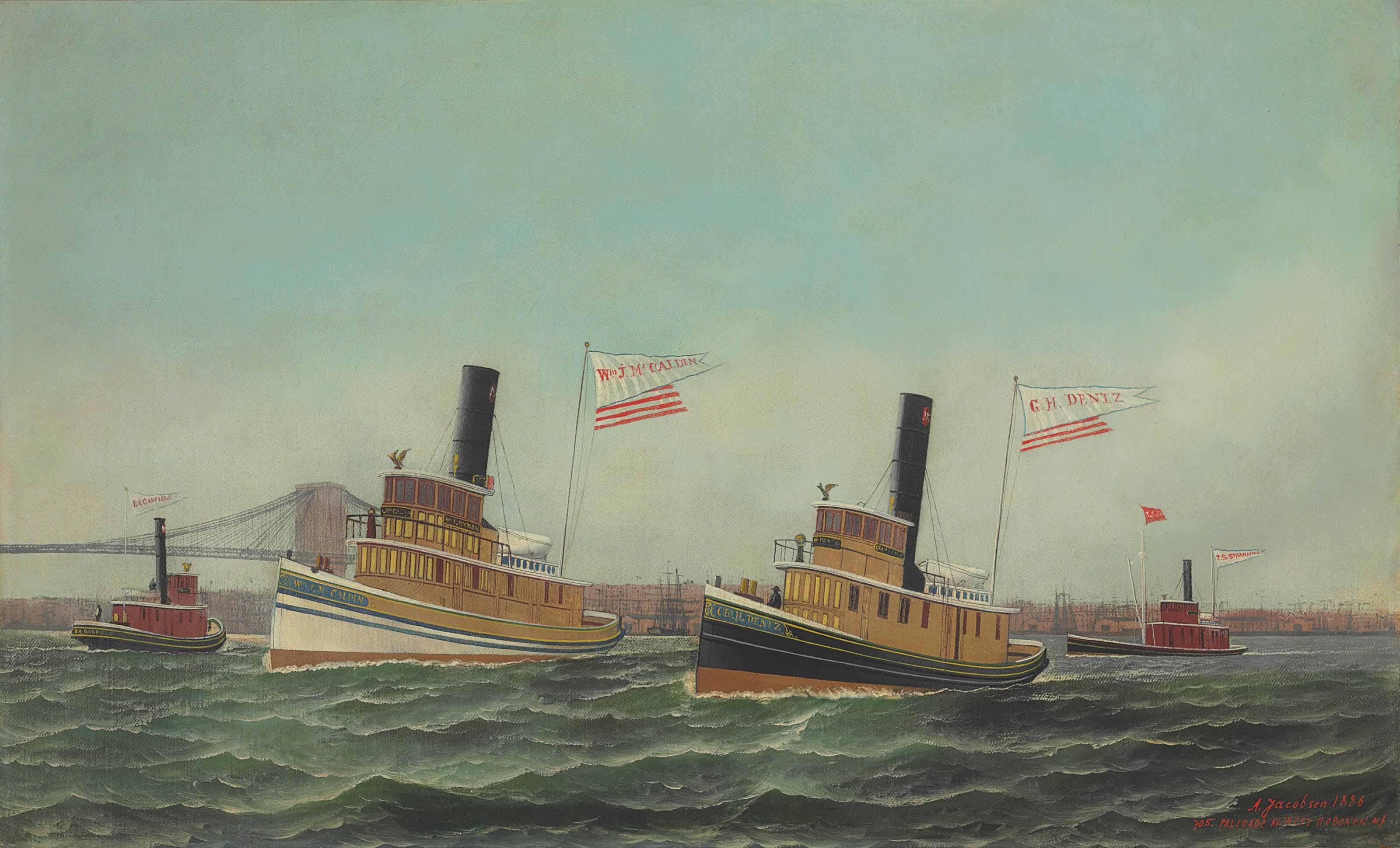 The Tugboats of WM. J. McCaldin, G.H. Dentz and J.S. Stranahan in the East River, South of the Brooklyn Bridge