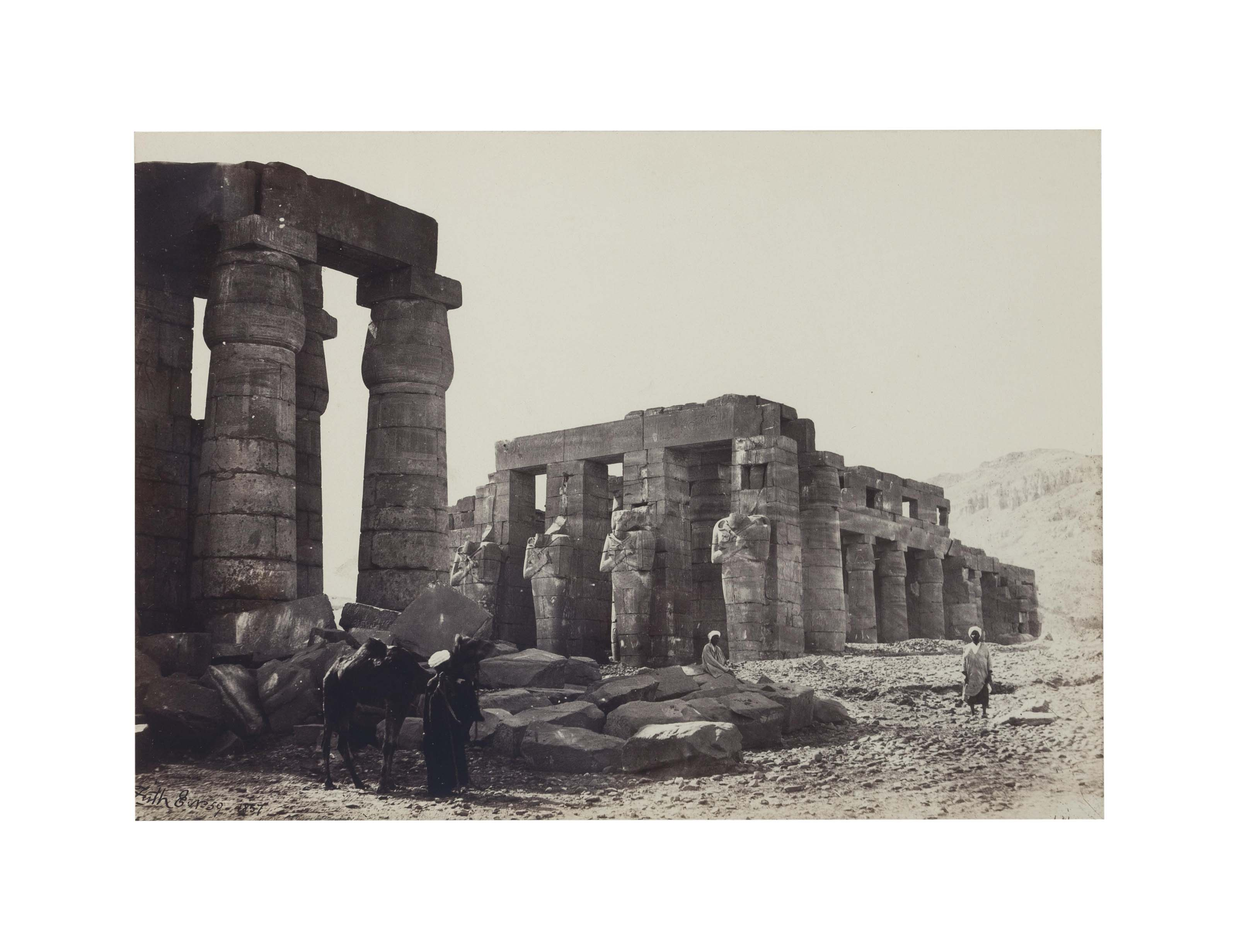 Colossi of Memnon, Thebes, 1857