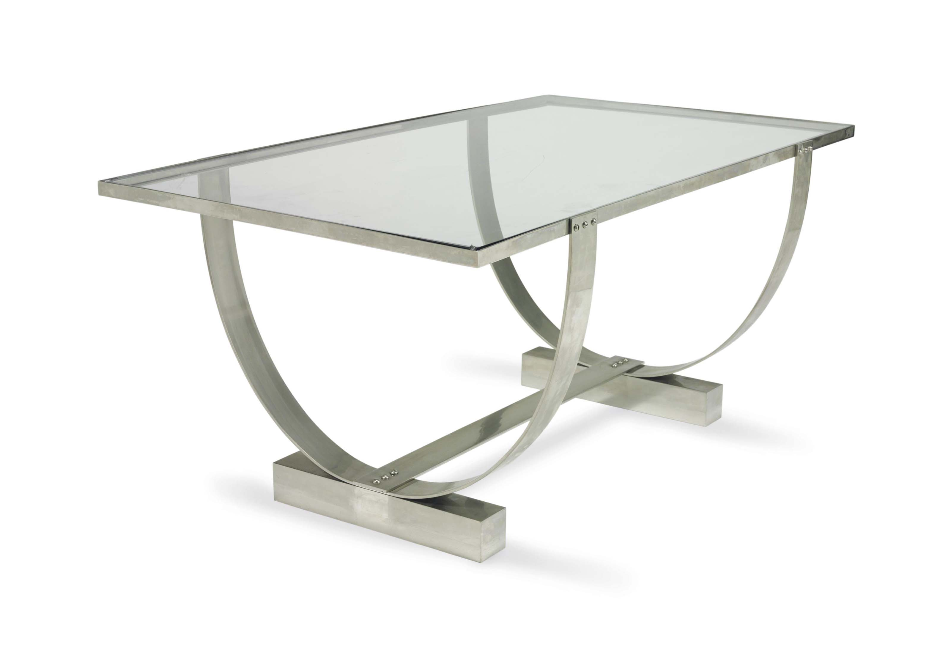 A CHROMED METAL AND GLASS LOW TABLE,
