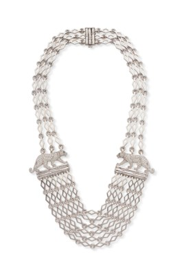A DIAMOND AND WHITE GOLD PANTHER NECKLACE, BY CARTIER