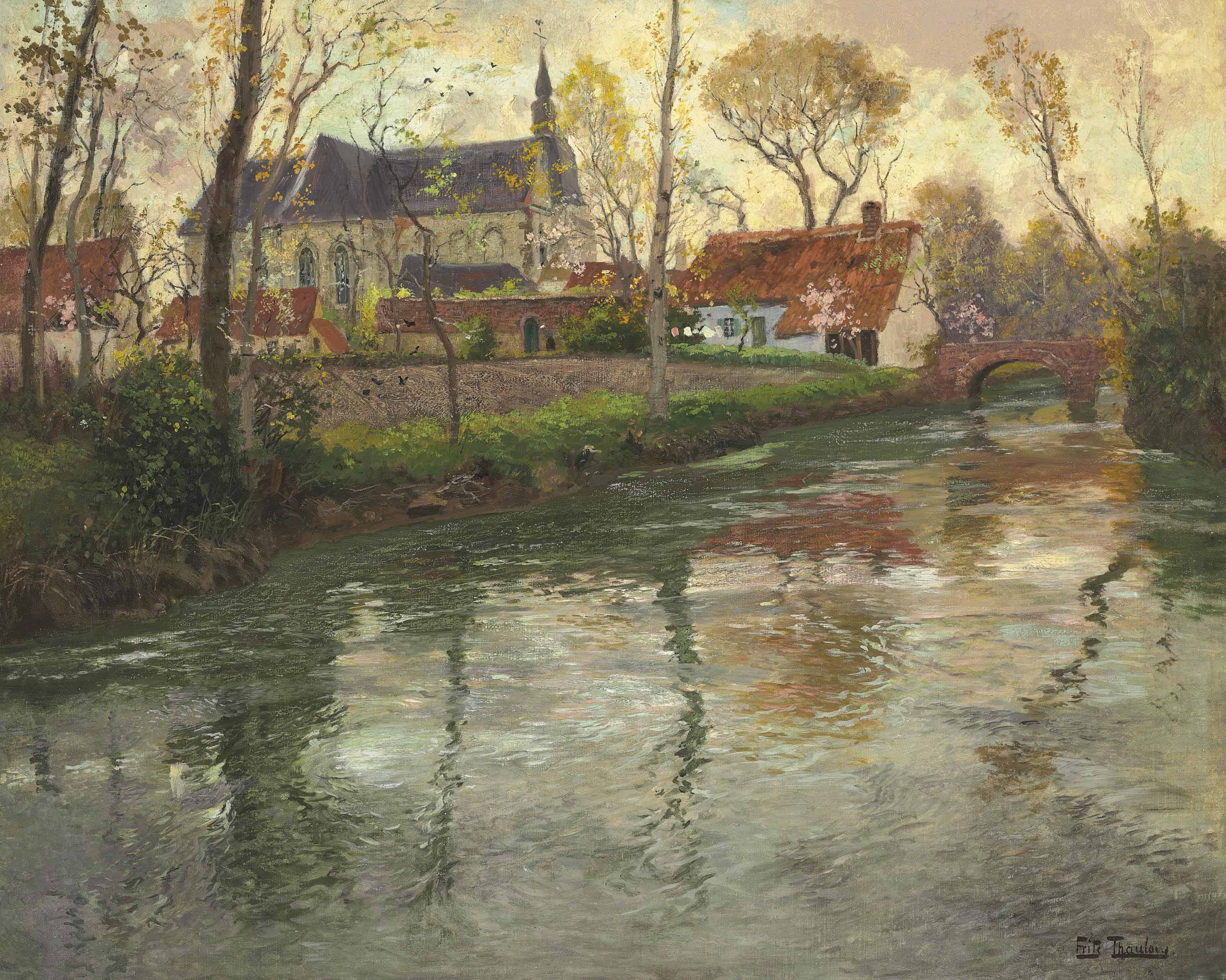 A River Landscape with a Church Beyond