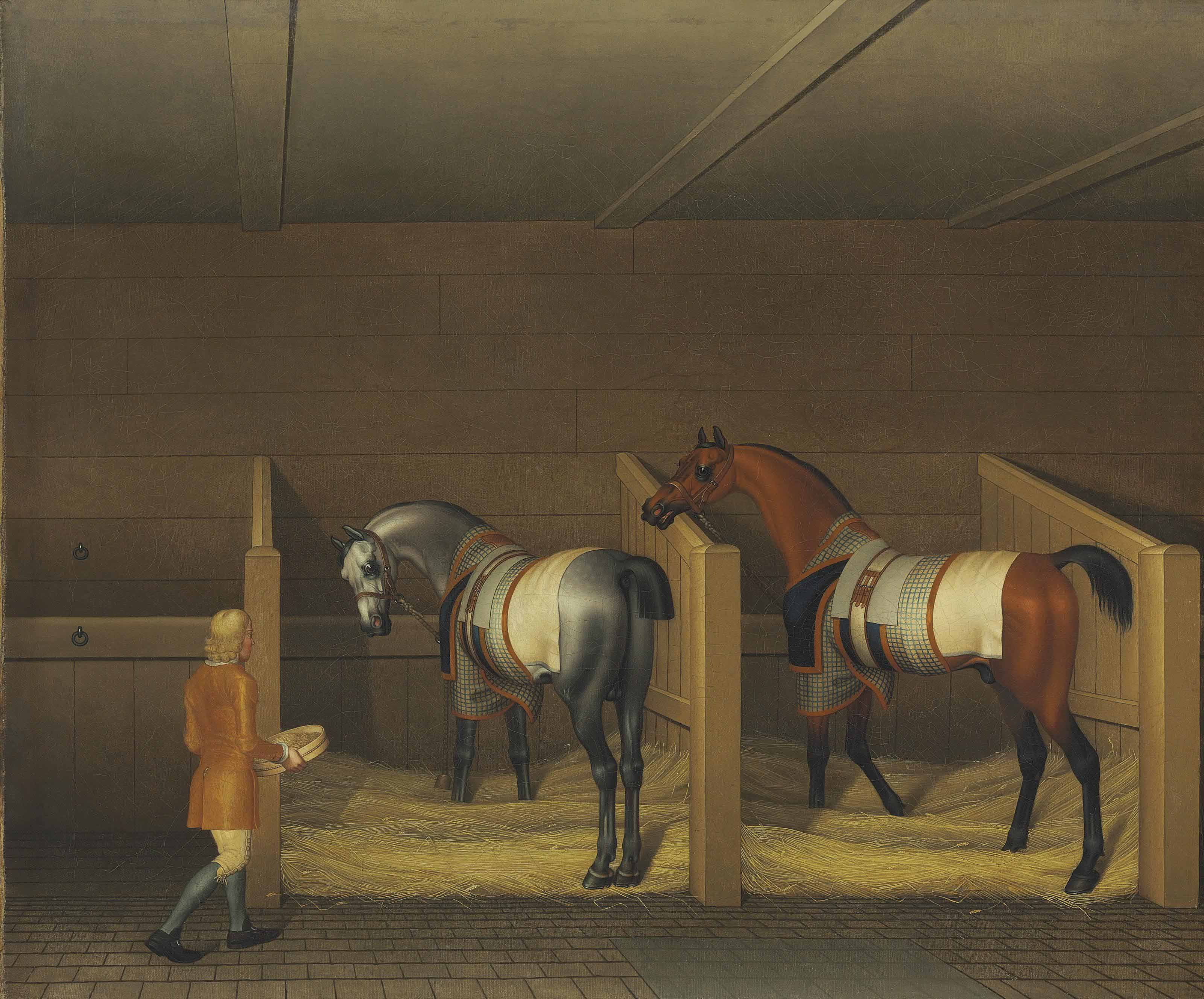 A Stable Interior, a Groom bringing Oats to a Bay and a Grey Stallion