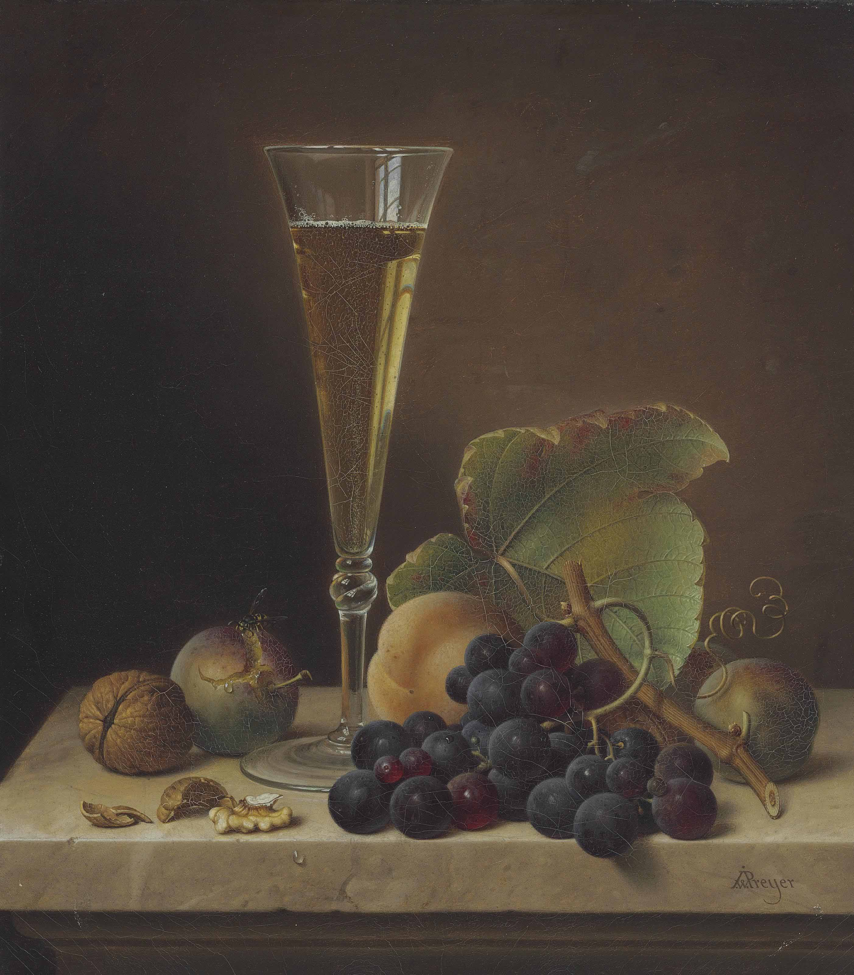 Still Life of Fruit, Walnuts and a Champagne Flute on a Marble Ledge