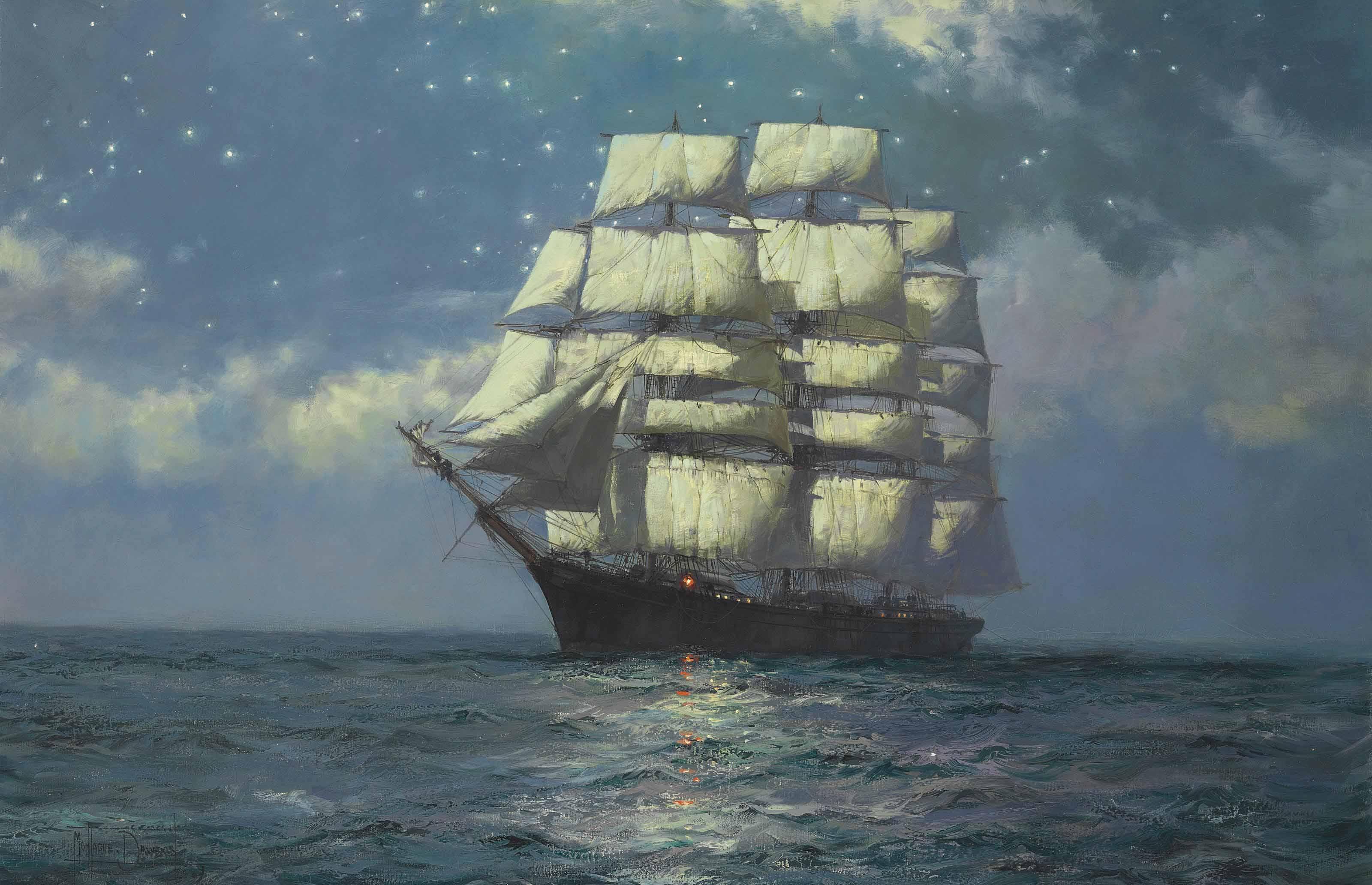 A Clipper Ship in a Moonlit Sea