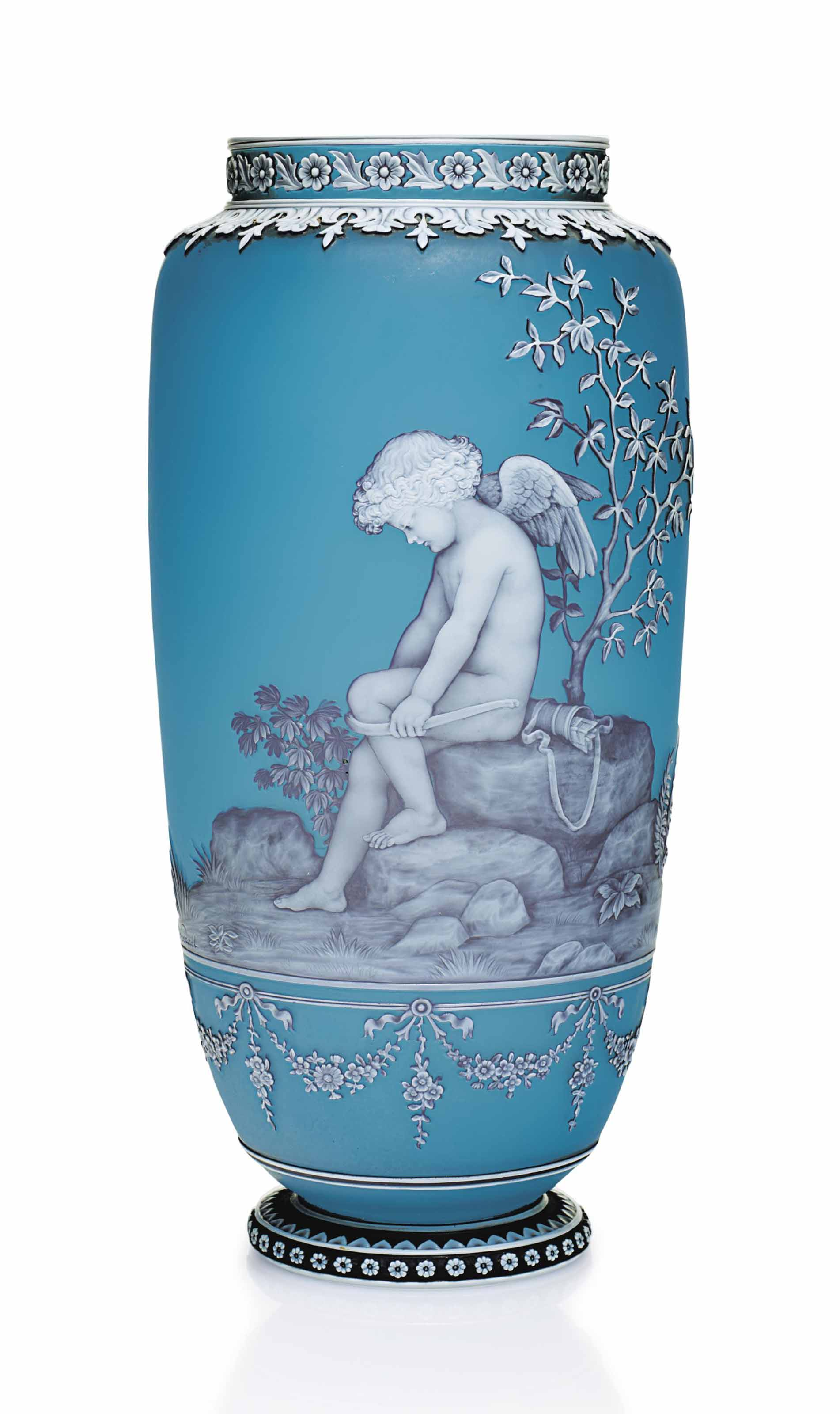 A THOMAS WEBB & SONS CAMEO GLASS ALLEGORICAL VASE OF CUPID