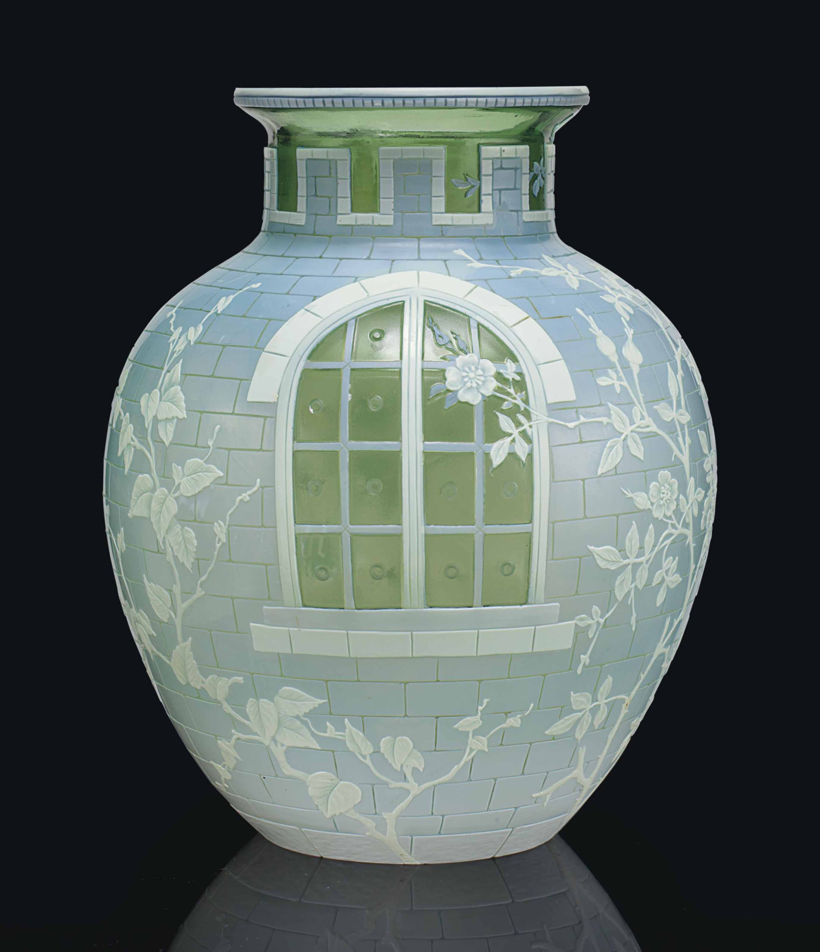 A THOMAS WEBB & SONS CAMEO GLASS 'CASTLE WINDOW' VASE