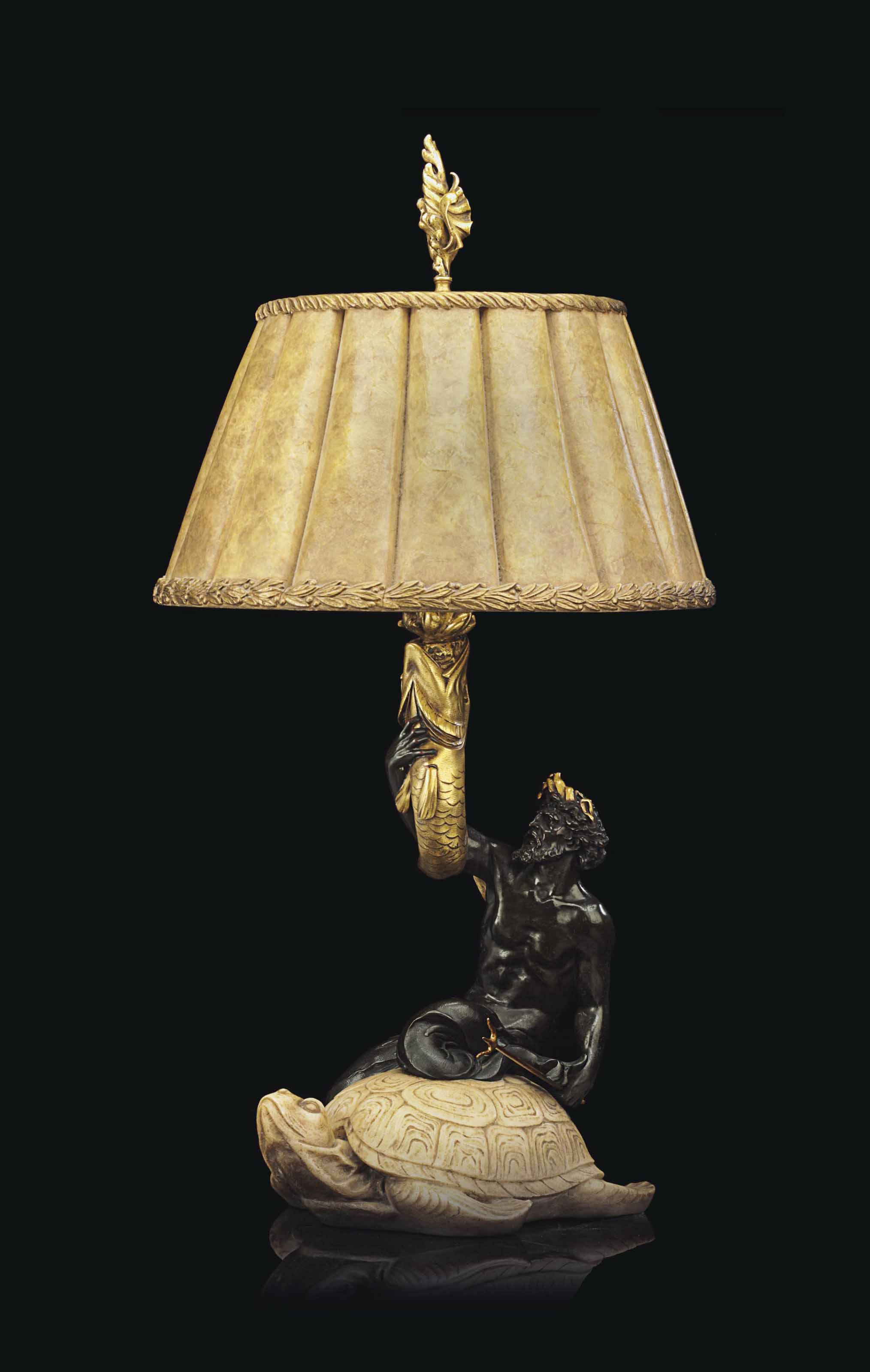 AN AMERICAN PARCEL-GILT, PATINATED BRONZE AND MARBLE FIGURAL TABLE LAMP