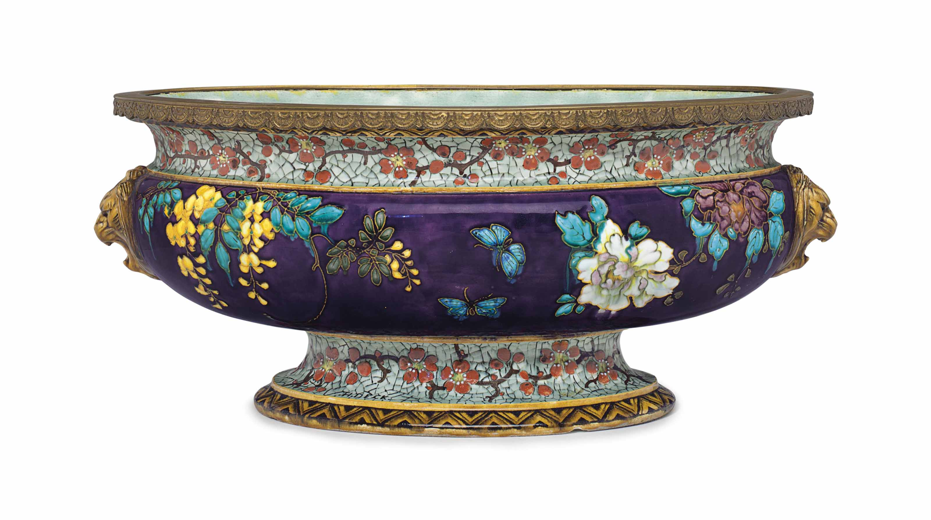 AN ORMOLU-MOUNTED THEODORE DECK FAIENCE AUBERGINE AND 'CRACKED-ICE' CENTERBOWL