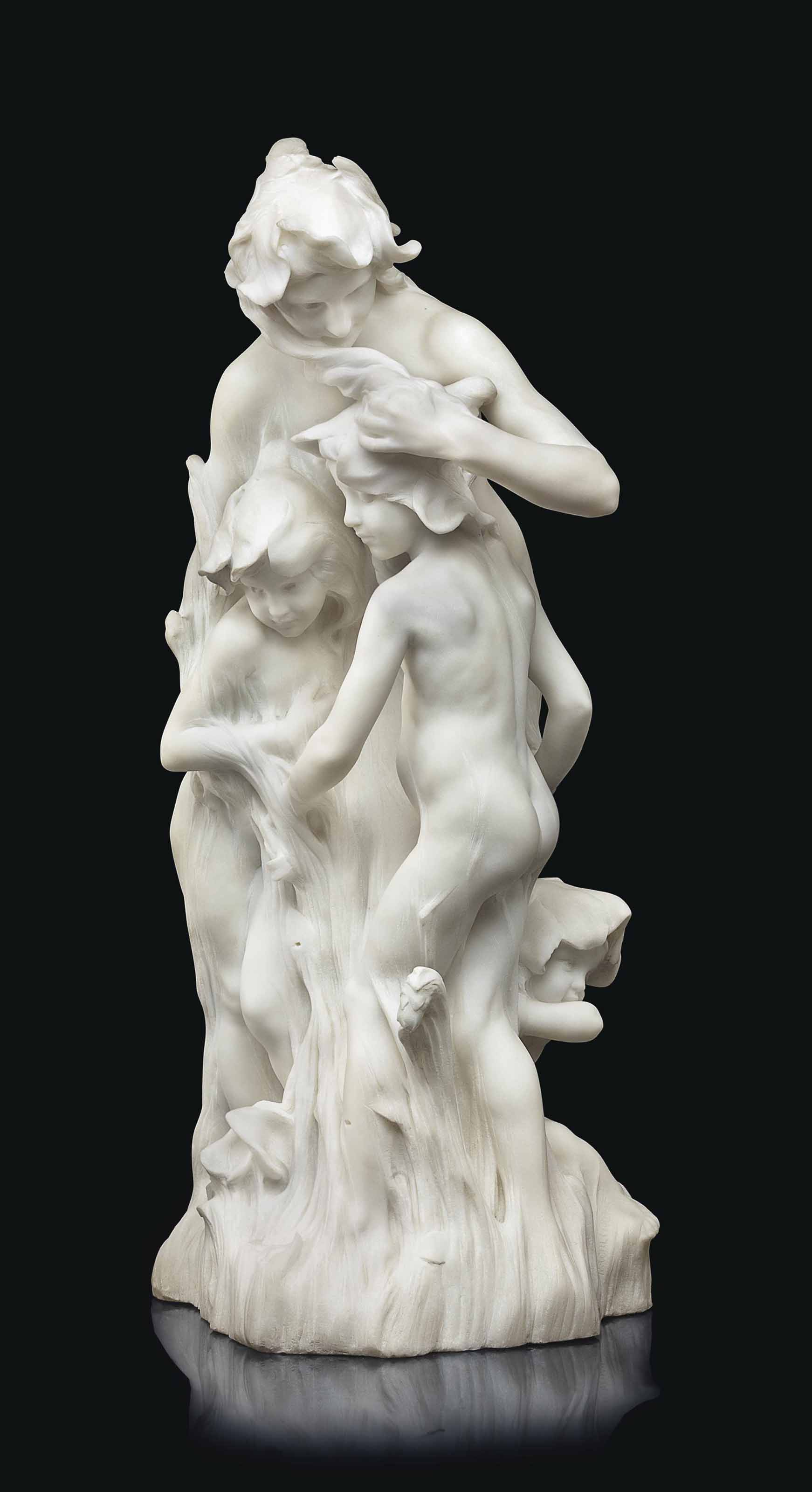 A FRENCH WHITE MARBLE FIGURAL GROUP, TITLED 'LES VIOLETTES'