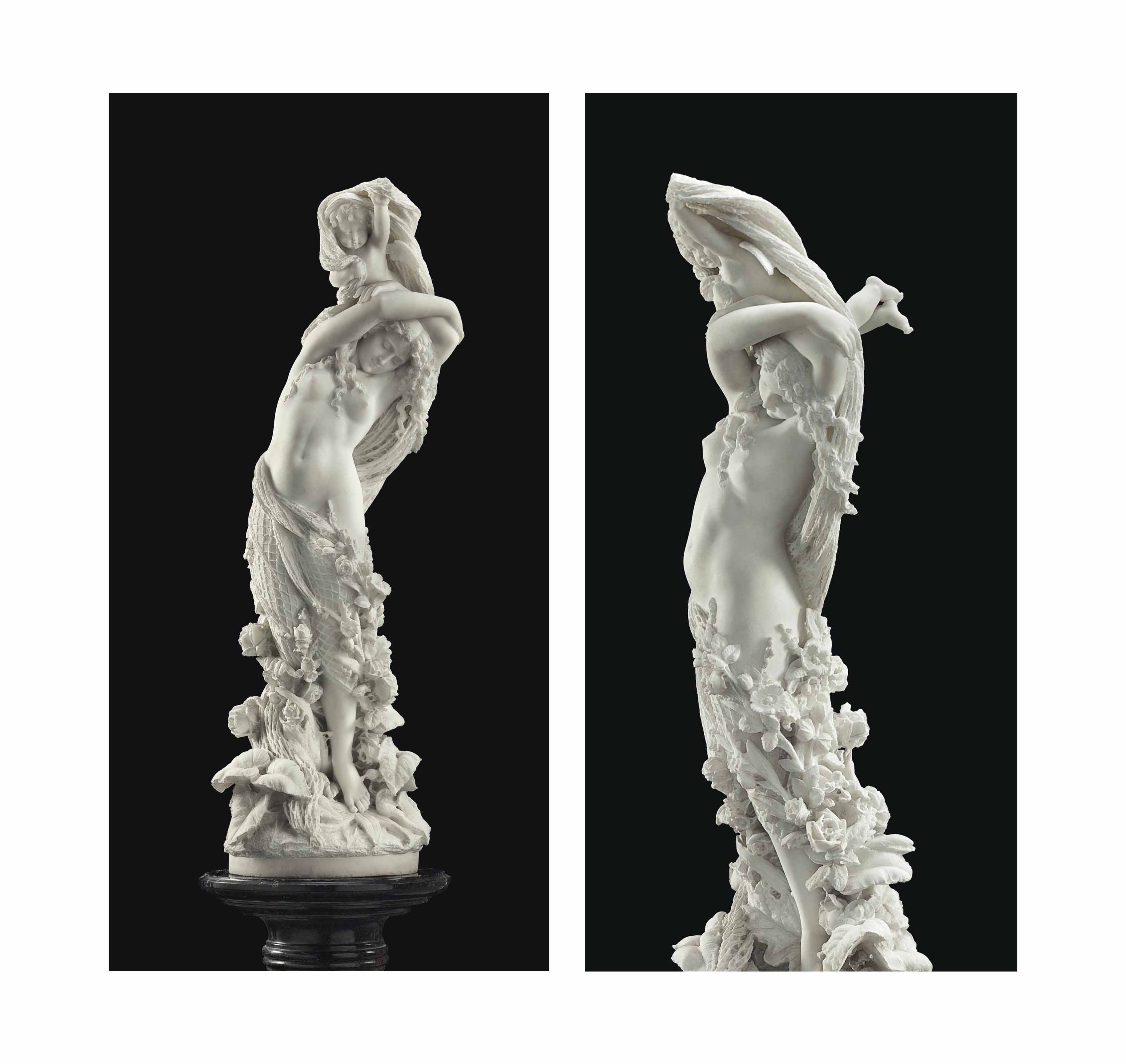 AN AMERICAN WHITE MARBLE FIGURE GROUP, TITLED 'LOVE'S FIRST DREAM'