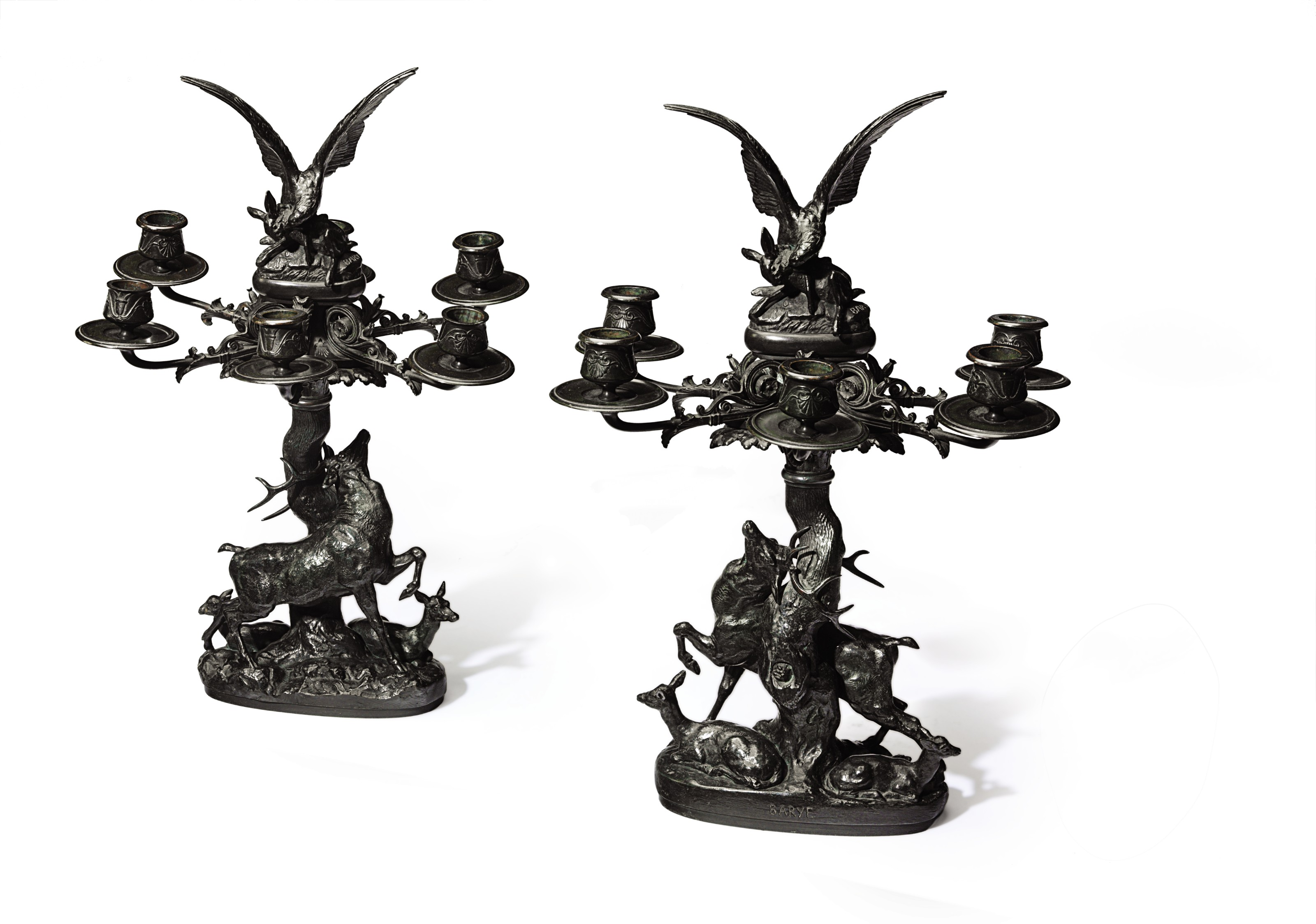 A PAIR OF FRENCH PATINATED BRONZE SIX-LIGHT CANDELABRA, TITLED 'CANDELABRES DECORES DE GROUPES D'ANIMAUX'