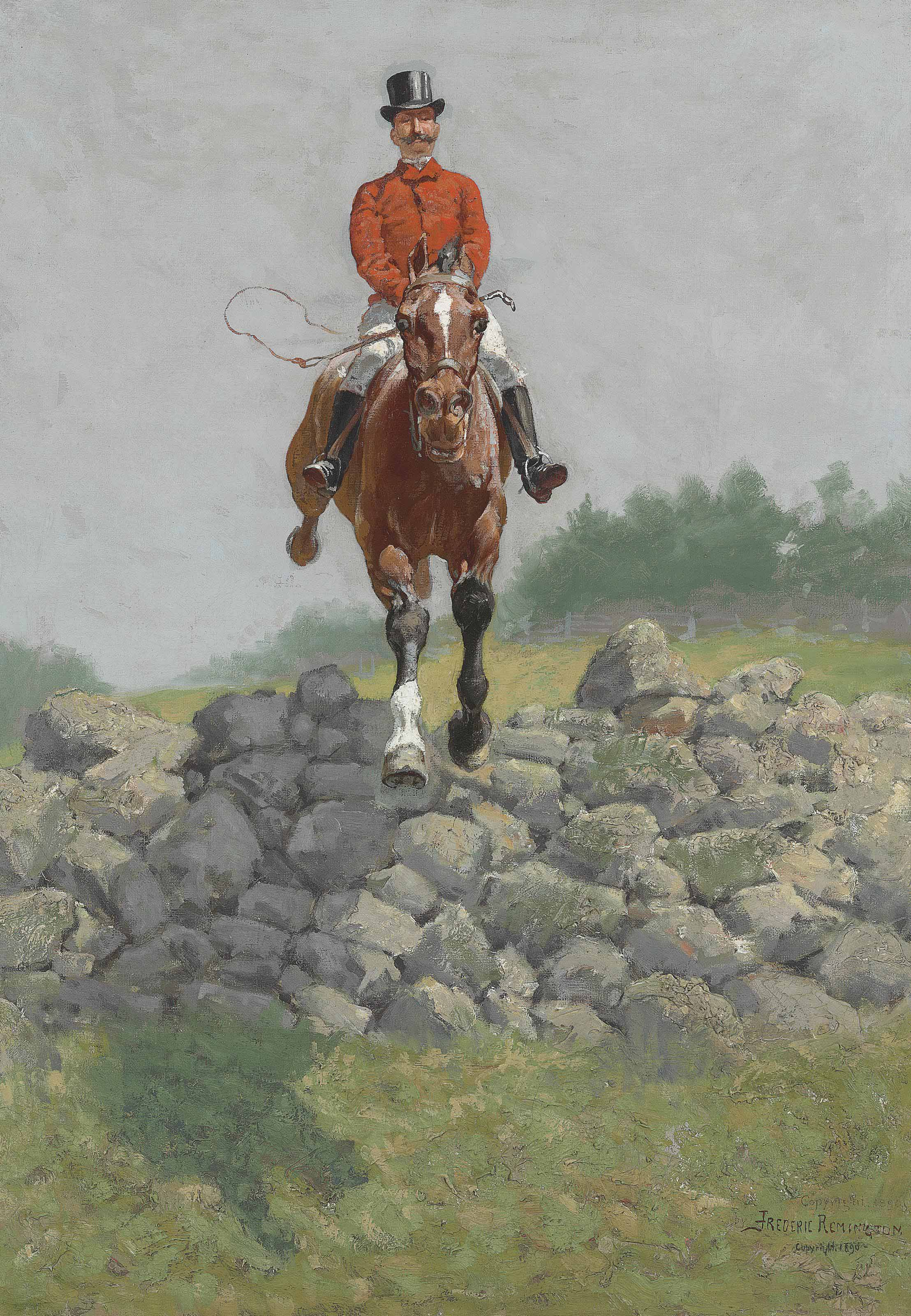 A Hunting Man (In Full Pursuit: H.L. Herbert Taking a Wall)