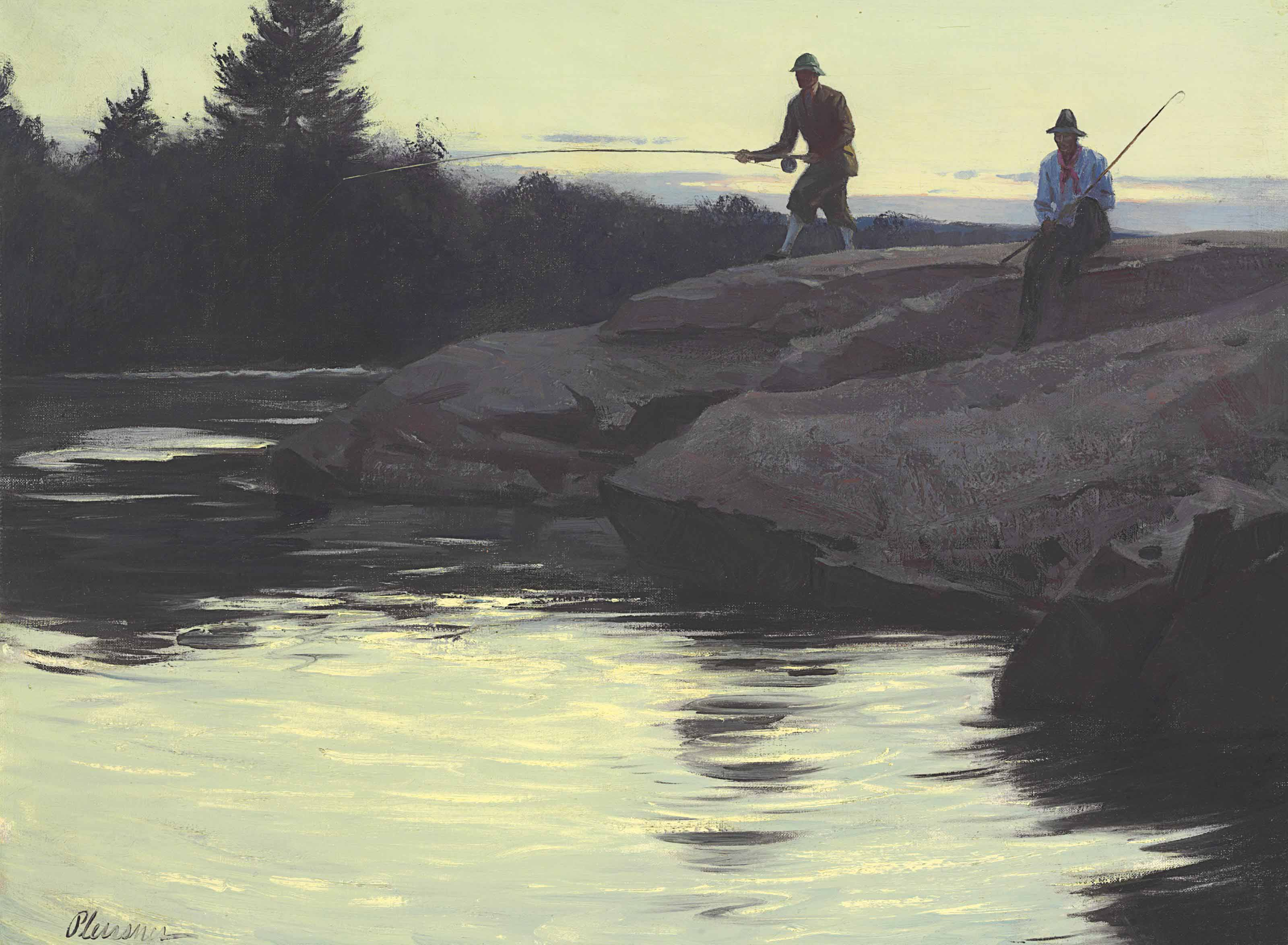 Fishermen on a Rock