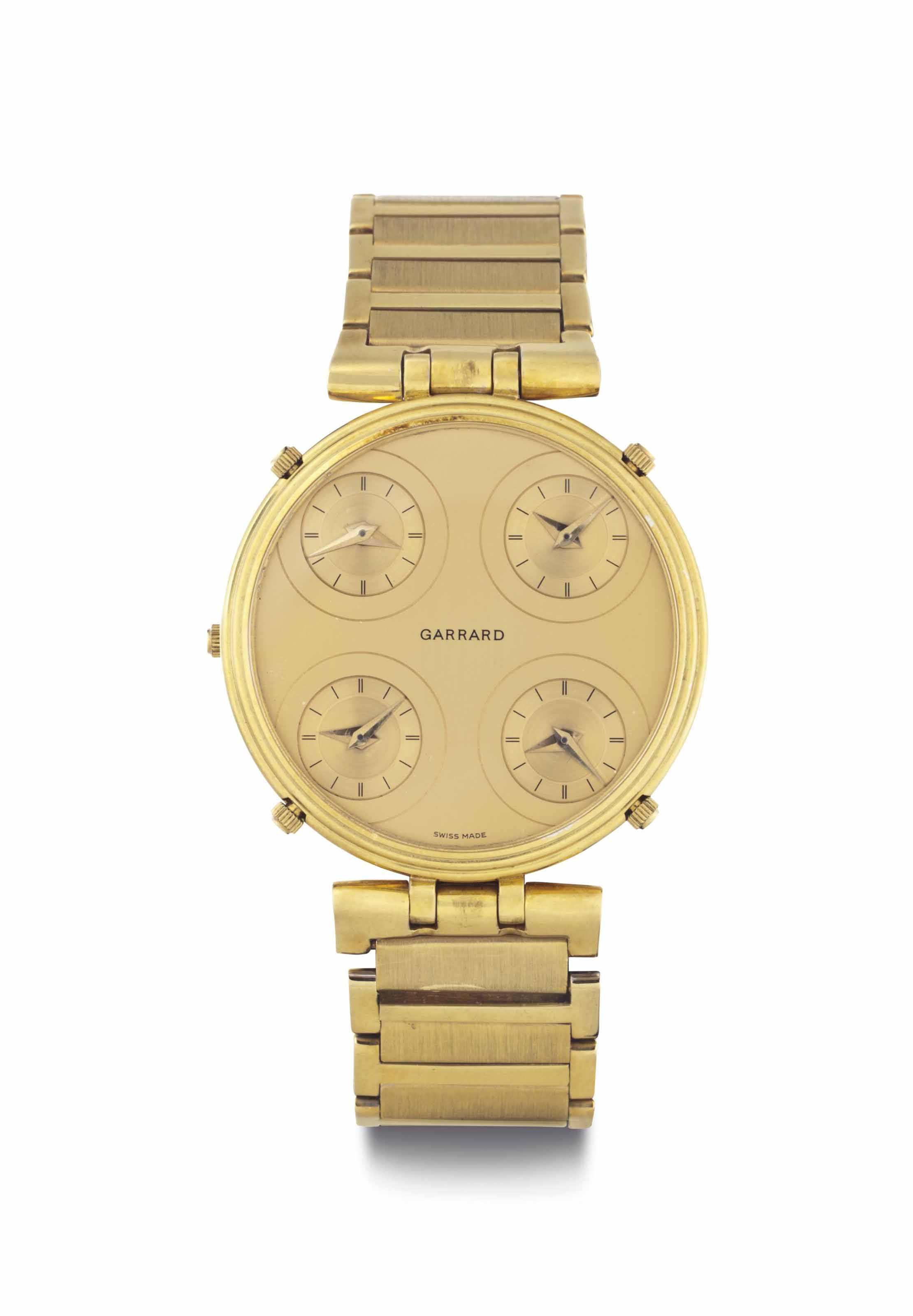 Sarcar & Garrard. A Two-Color 18k Gold Reversible Bracelet Wristwatch with Five Time Zones