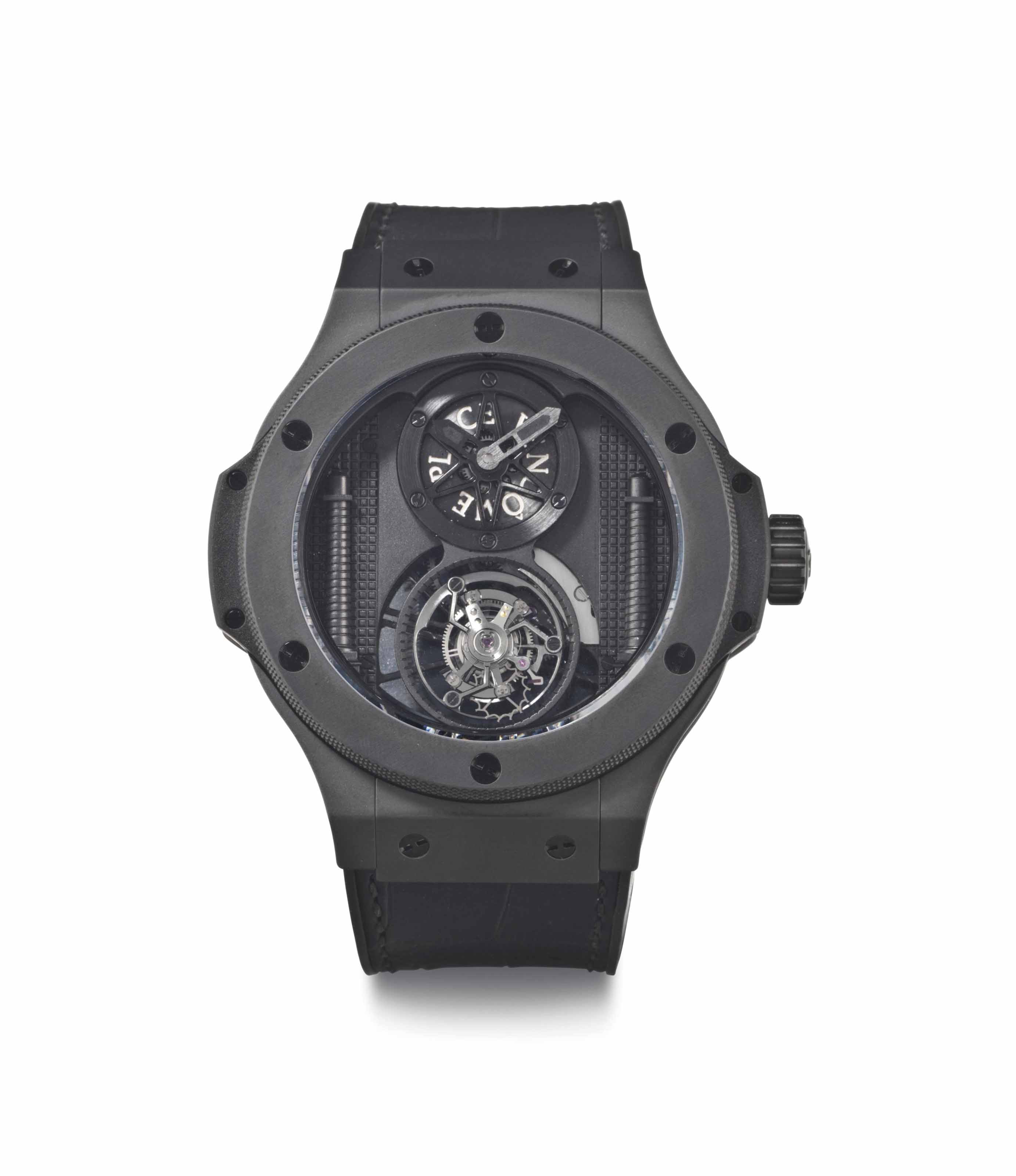 Hublot. A Limited Edition Ceramic Black Wristwatch with Tourbillon