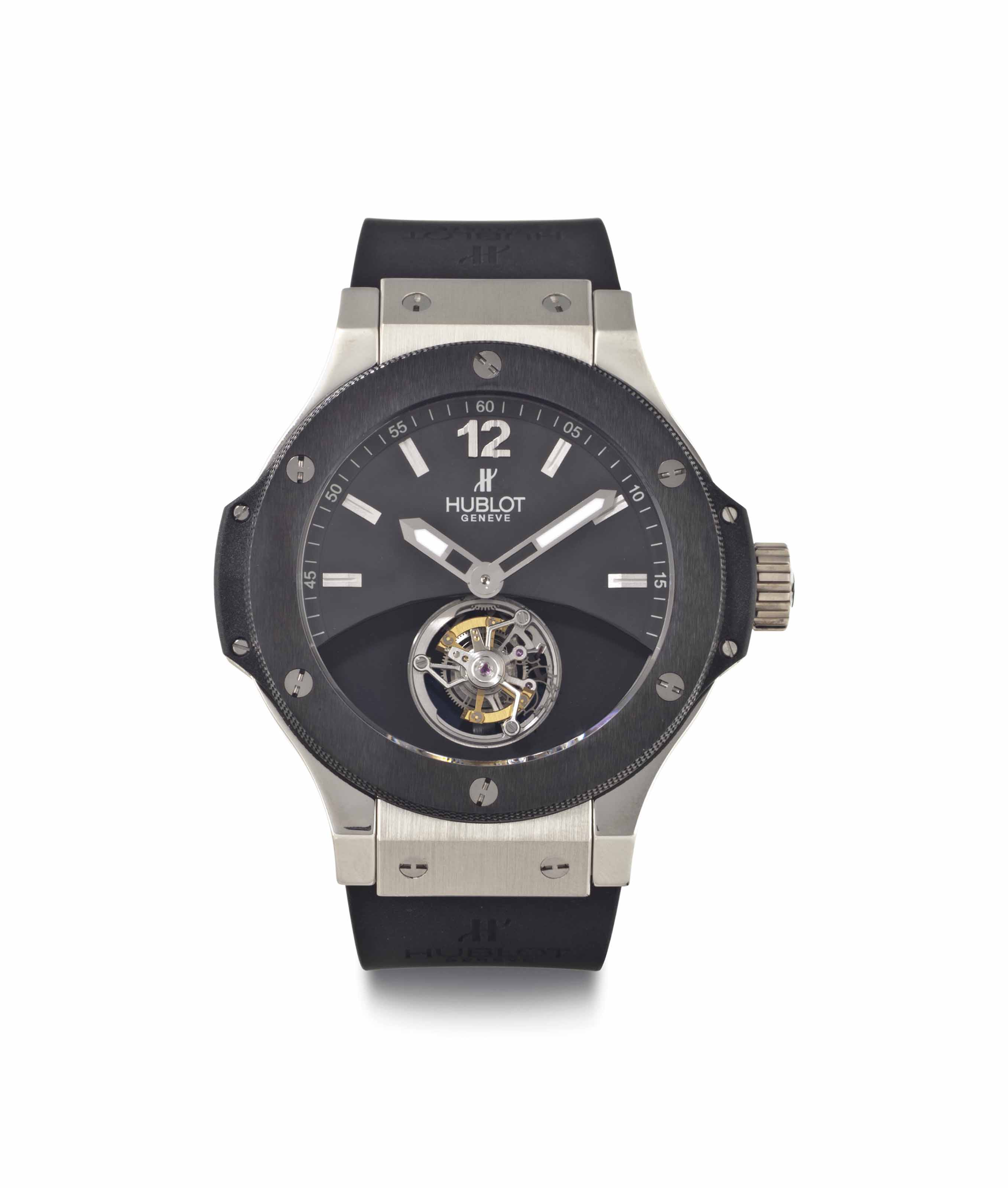 Hublot. A Limited Edition Platinum and Ceramic Wristwatch with Tourbillon