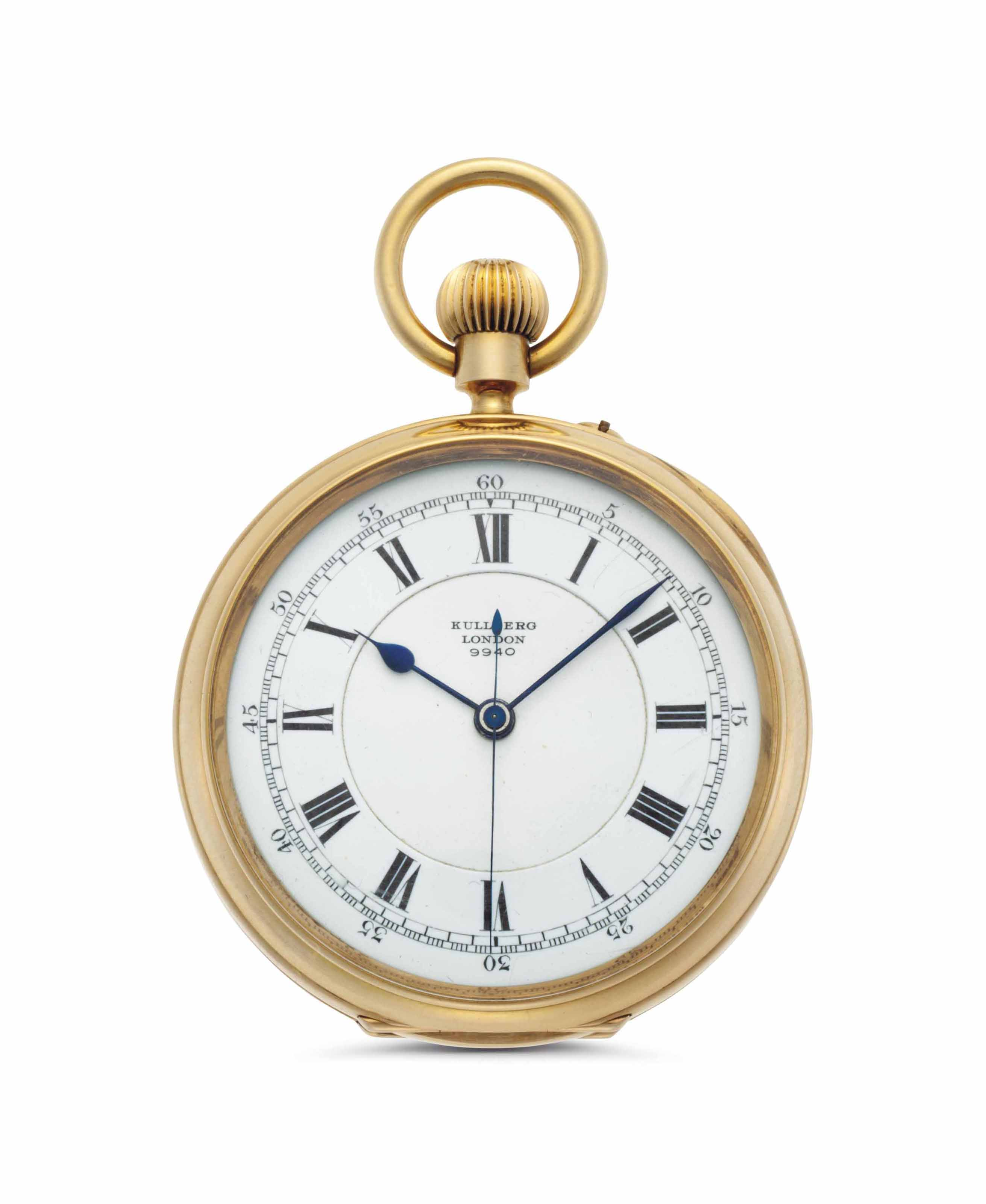 Victor Kullberg. An 18k Gold Openface Keyless Lever Pocket Watch with Center Seconds