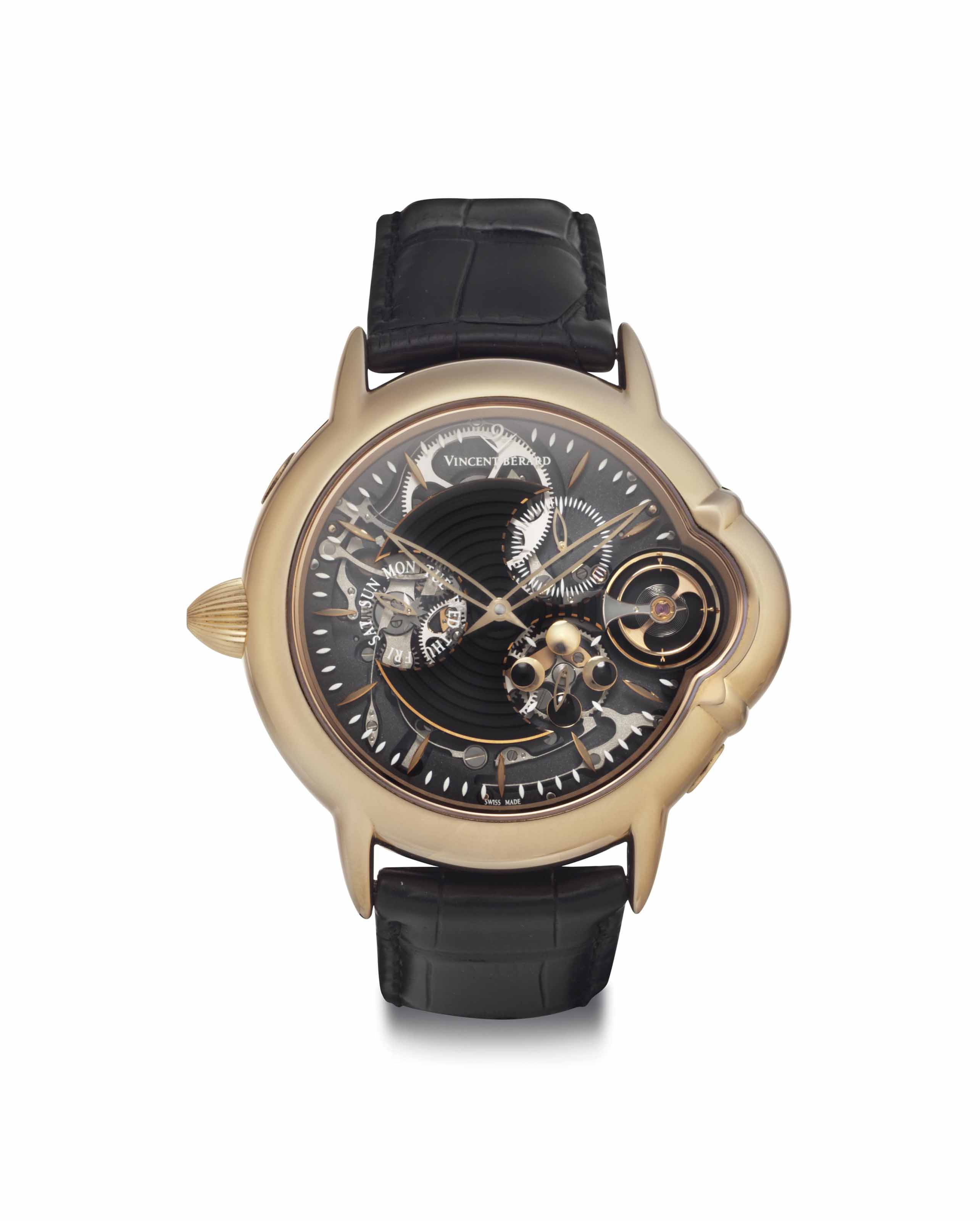 Vincent Berard. An 18k Pink Gold Left handed Semi-skeletonized Wristwatch with Monthly Lunar Cycle and Day Indicator
