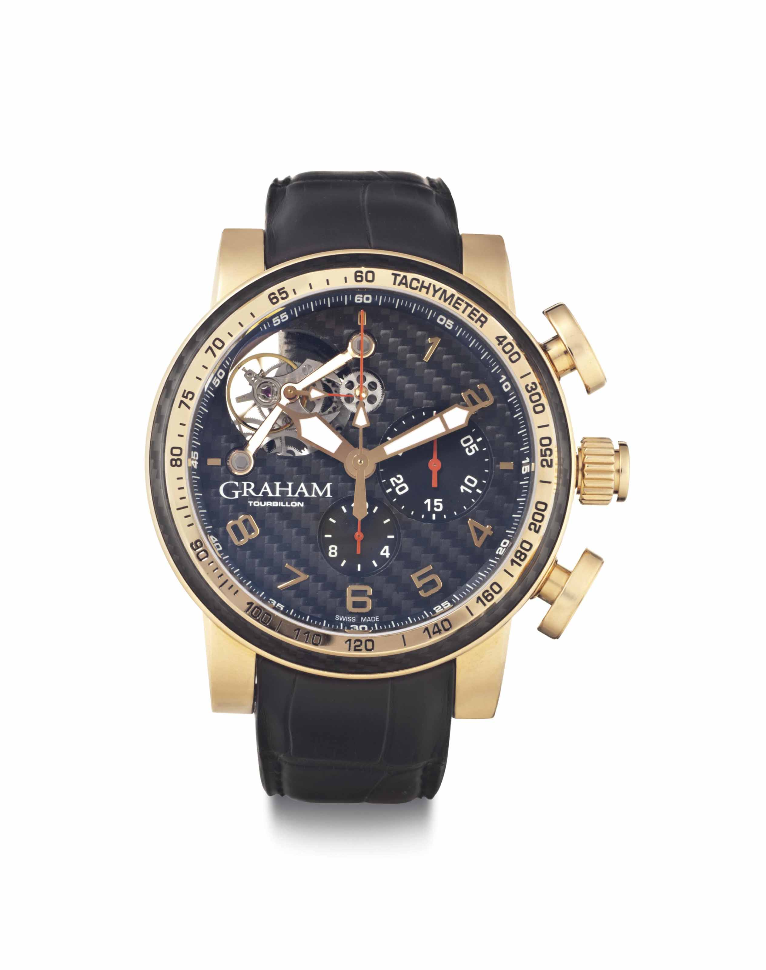 Graham. A Limited Edition 18k Pink Gold Automatic Chronograph Wristwatch with Tourbillon