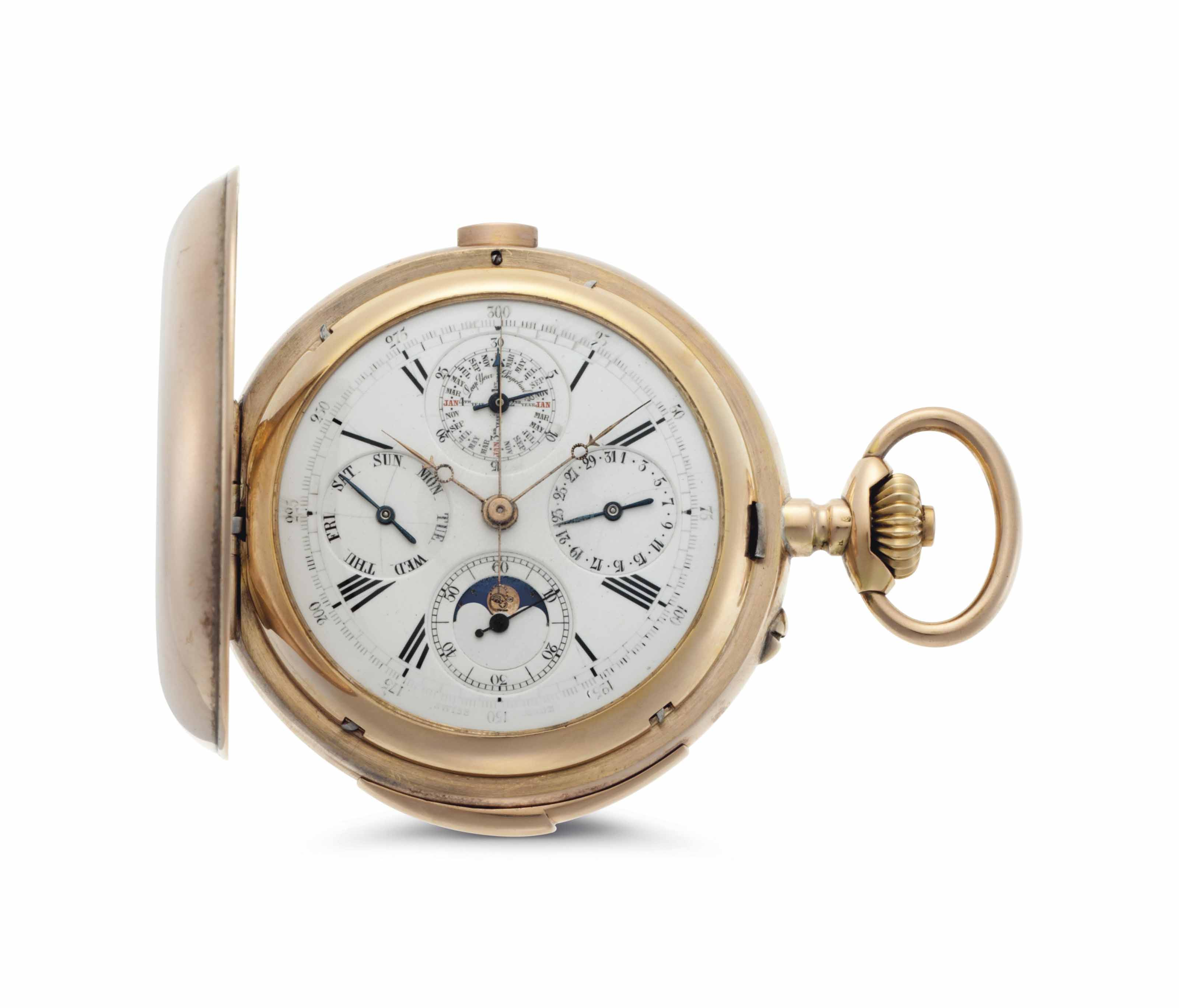 Dubois. An 18k Pink Gold Minute Repeating Perpetual Calendar Hunter Case Keyless Lever Pocket Watch with Moon Phases and Presentation Box.