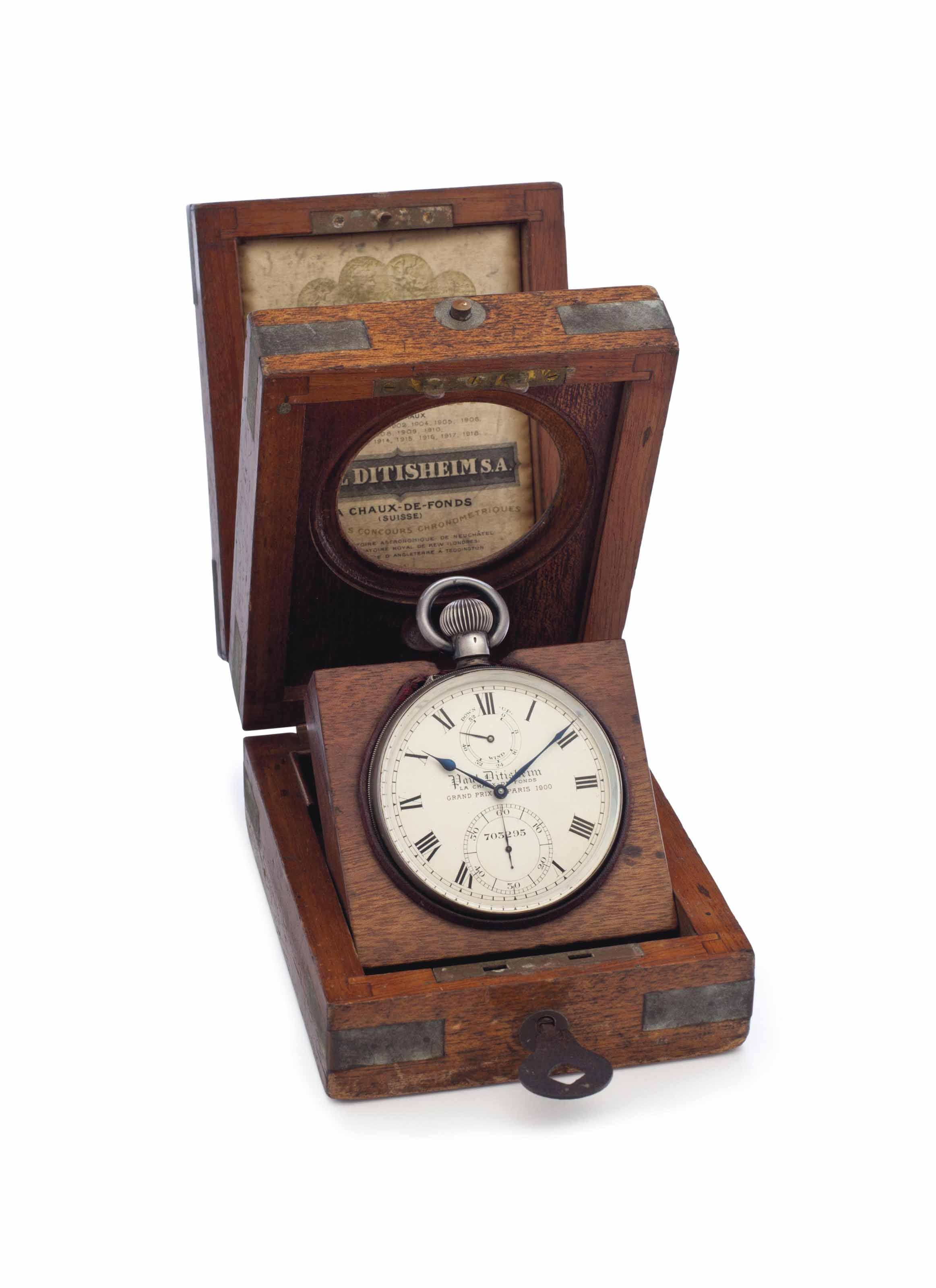 Paul Ditisheim. A Rare Silver Openface Keyless Lever Deck Watch with Guillaume Balance, Up and Down Indication and Wooden Presentation Box
