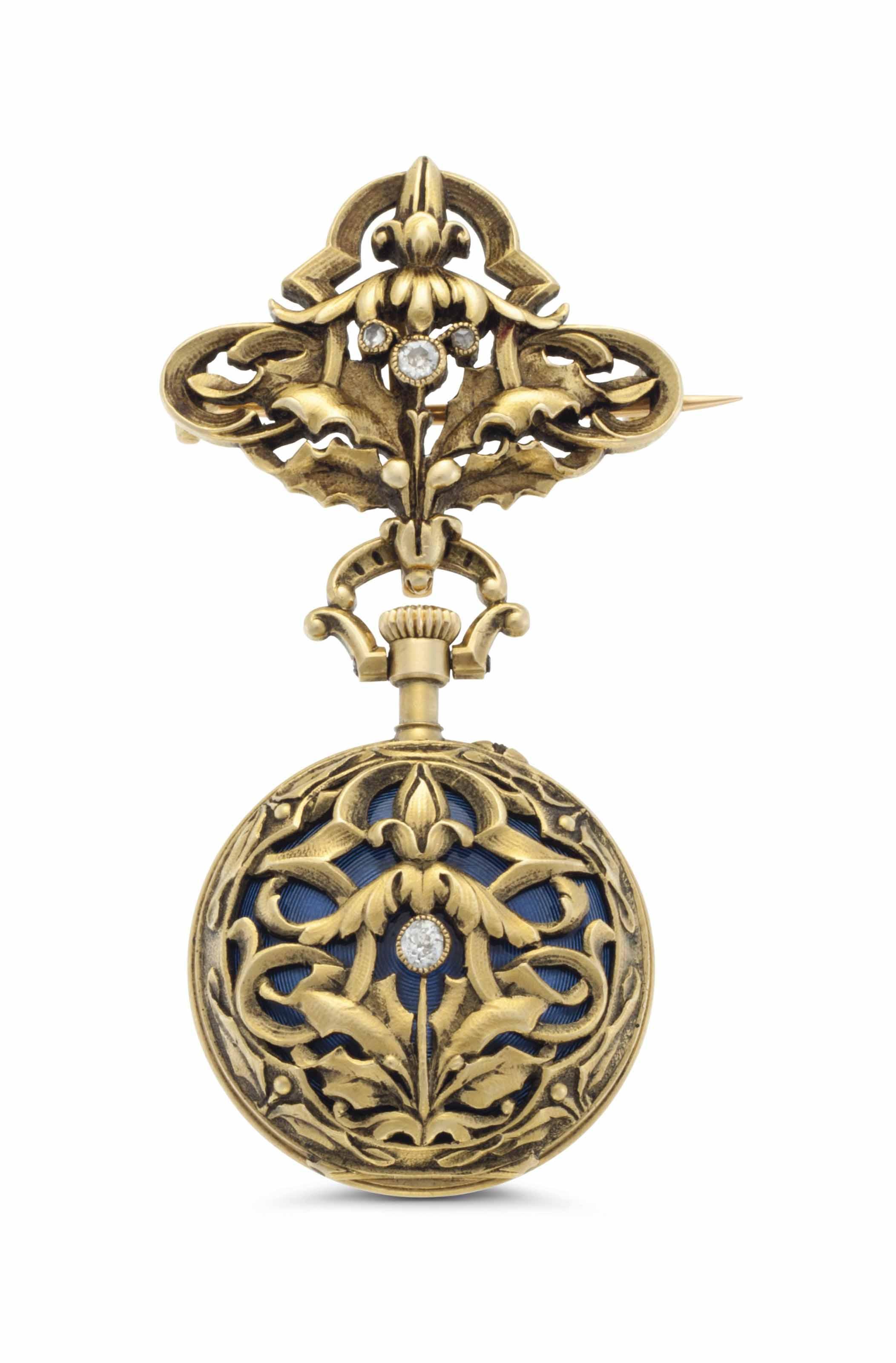 Swiss. A Lady's 18k Gold, Enamel and Diamond-set Openface Keyless Lever Pendant Watch