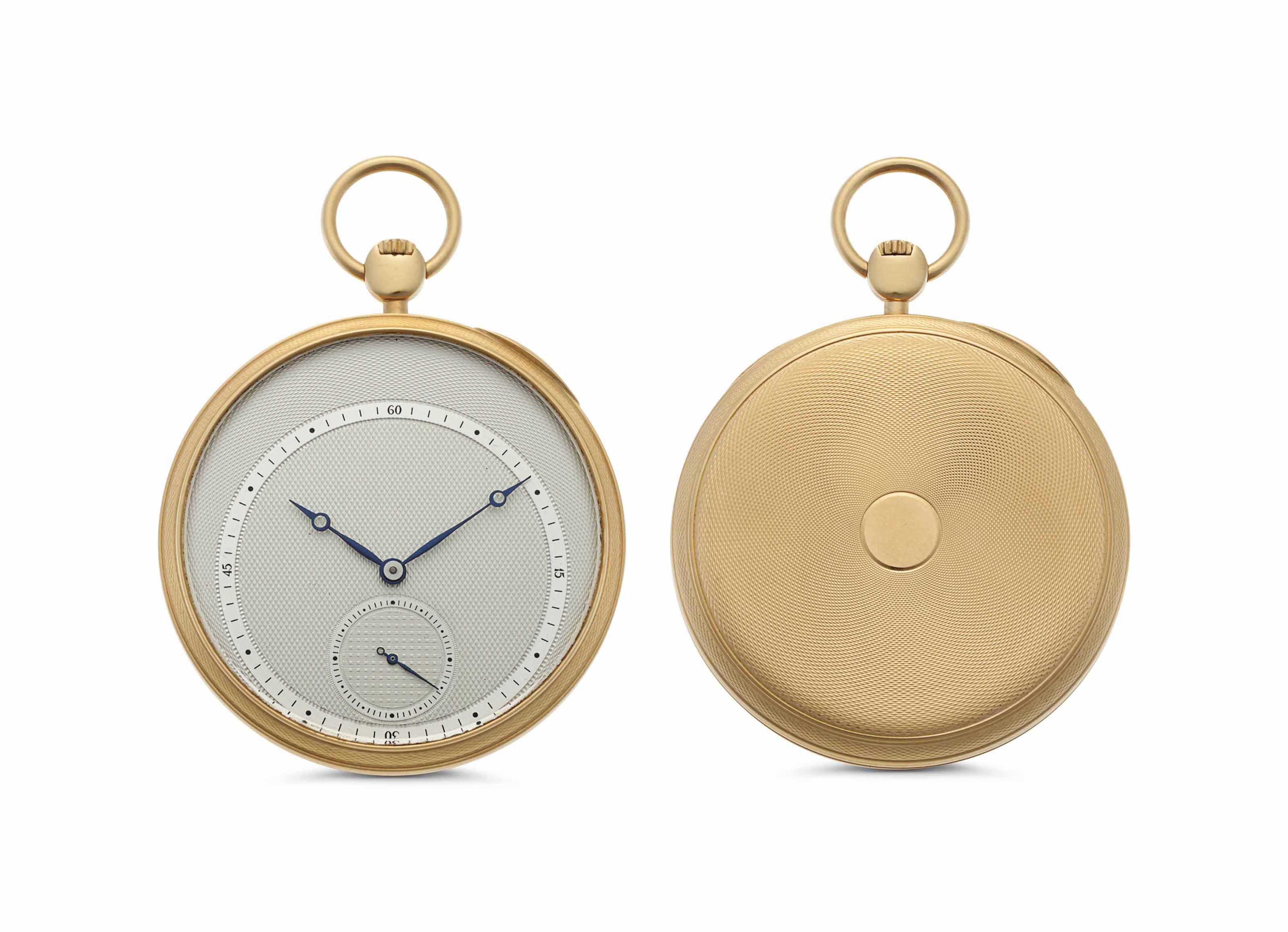 Comor. An 18k Gold Openface Keyless Lever Pocket Watch