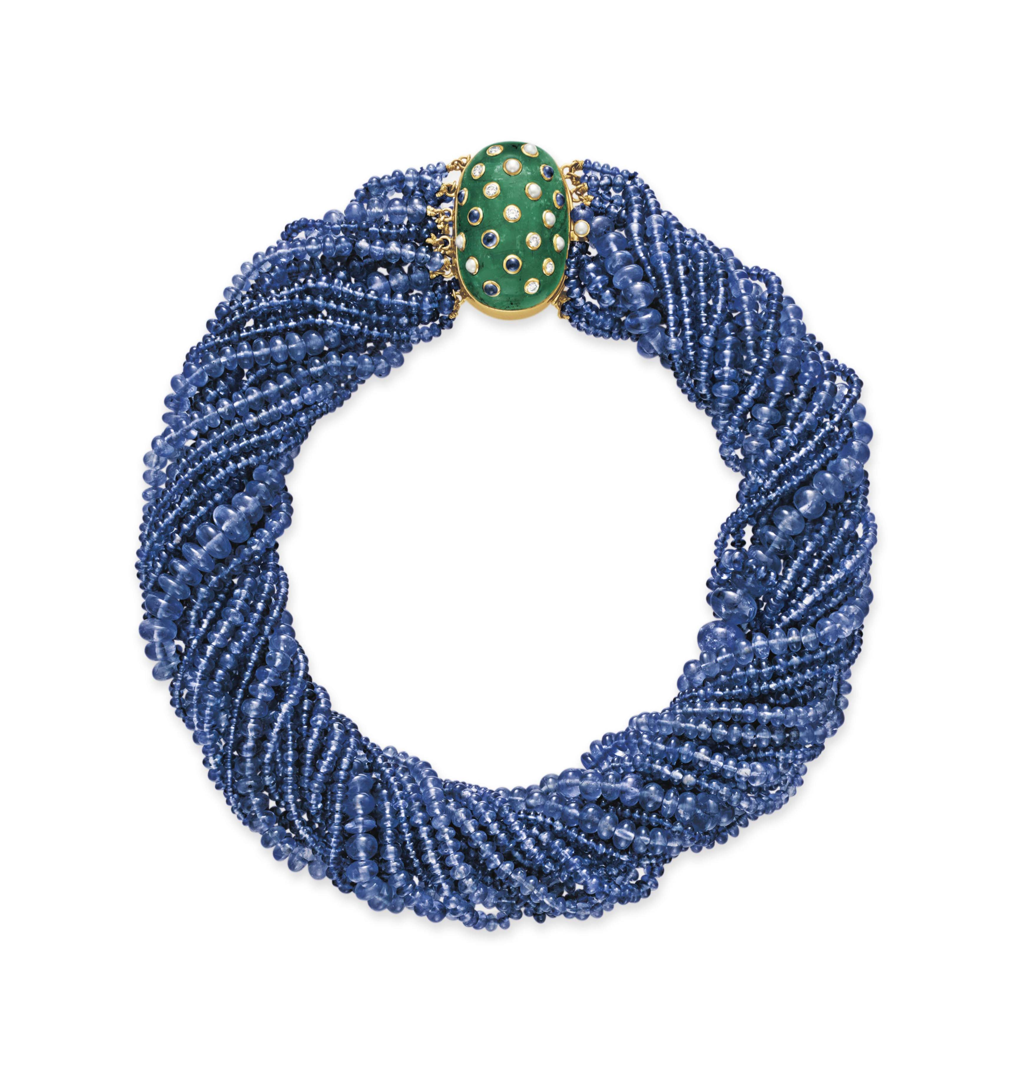 A SAPPHIRE BEAD AND MULTI-GEM NECKLACE, BY FRED LEIGHTON