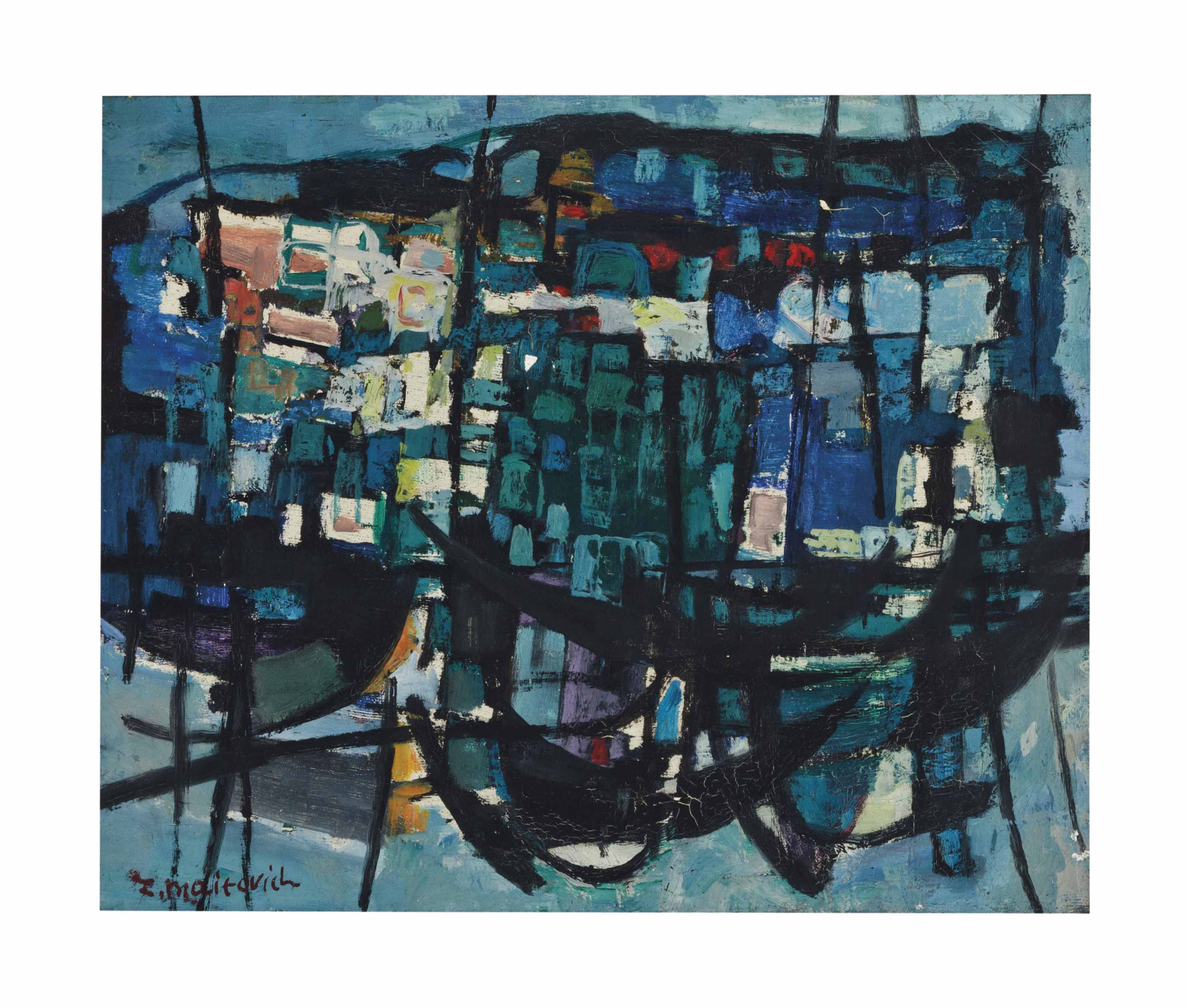 Untitled (boats in a harbor)