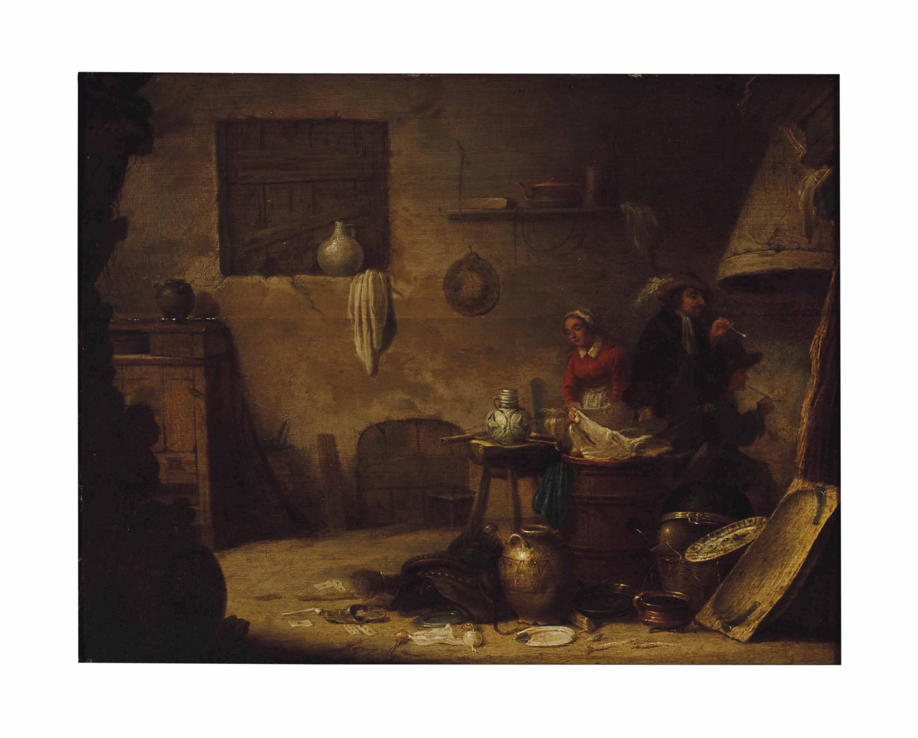 An interior with two men smoking by the fire and a washerwoman