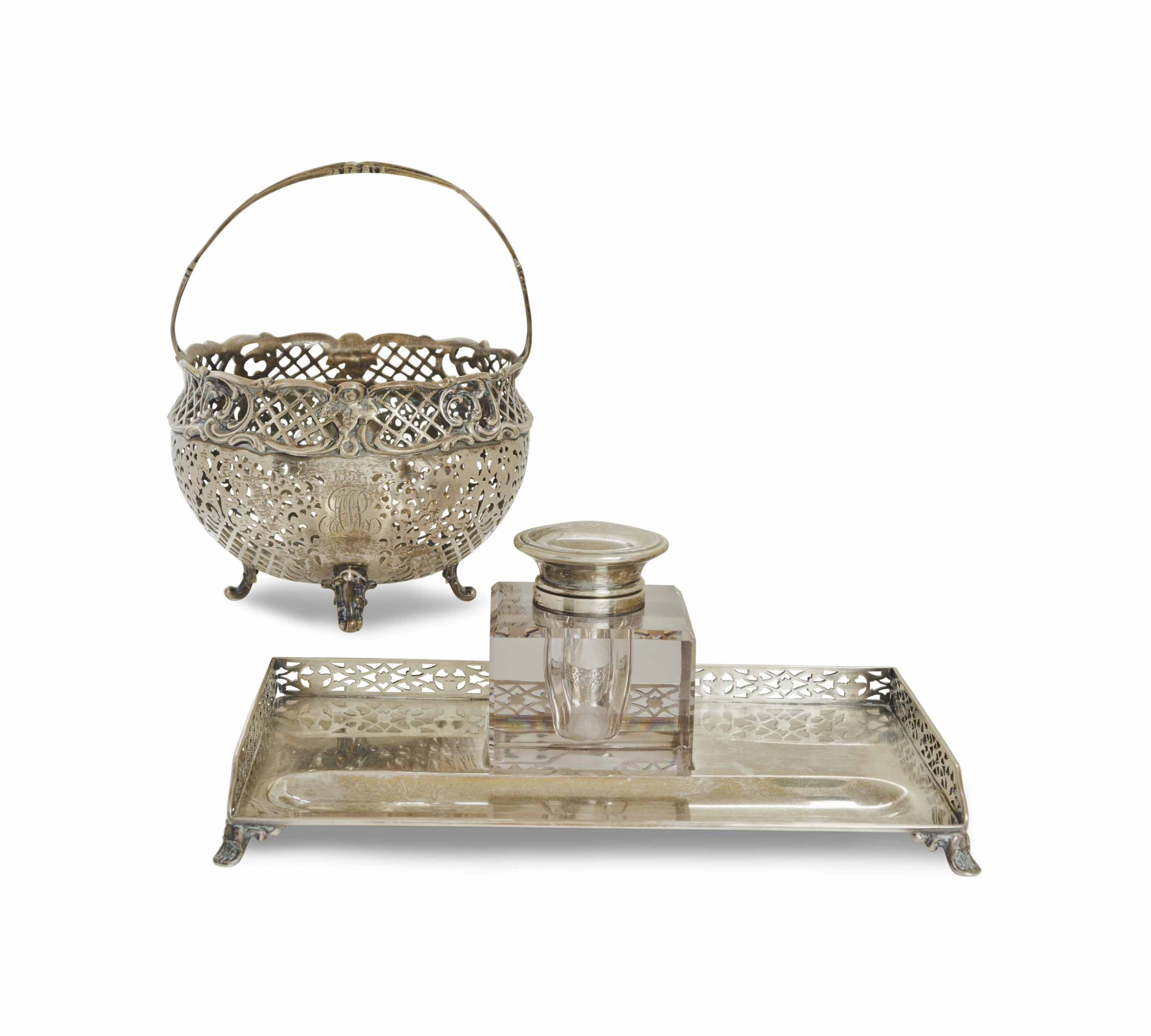 AN ASSEMBLED GROUP OF AMERICAN SILVER DESK ACCESSORIES,