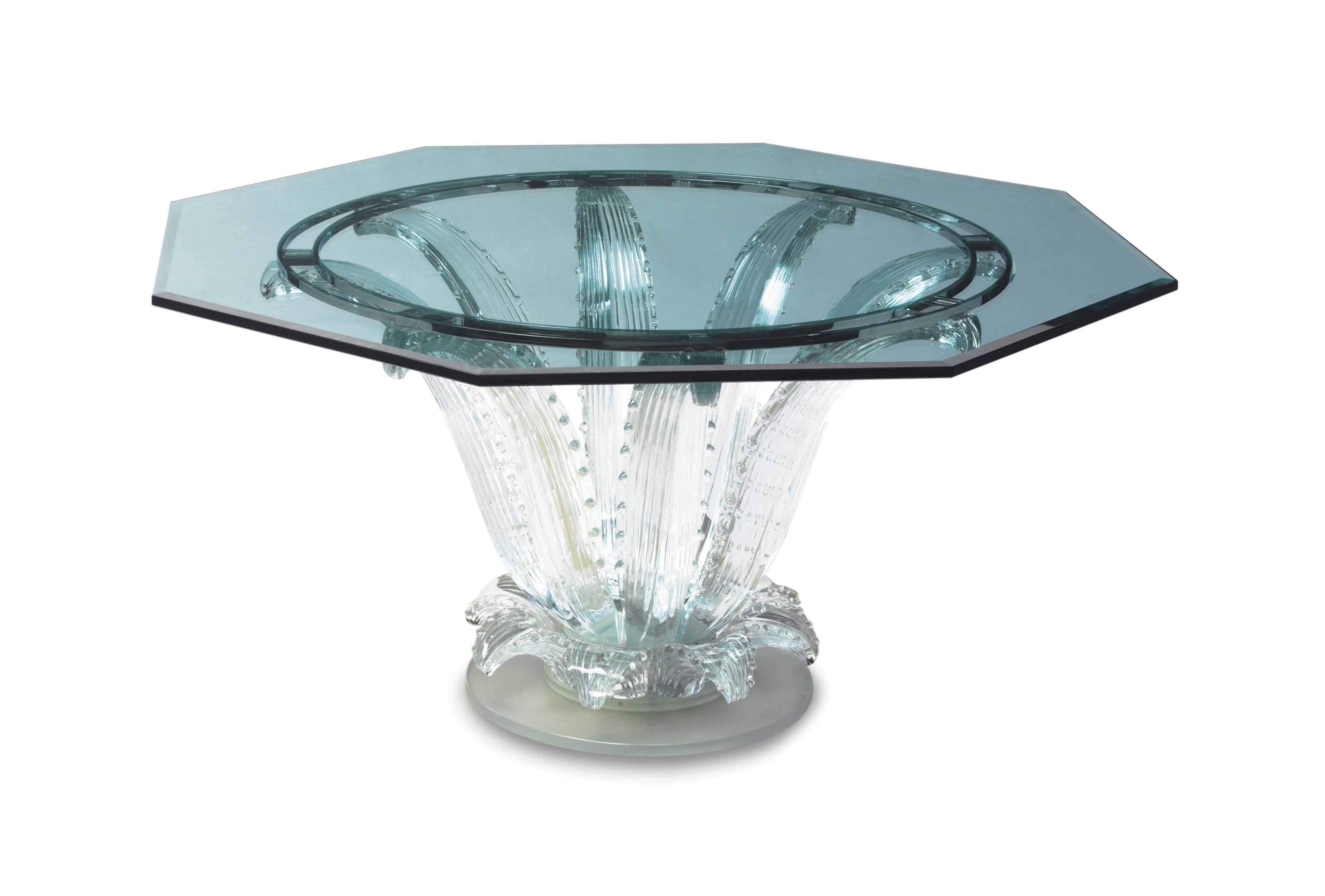 A FRENCH MOLDED GLASS OCTAGONAL 'CACTUS' TABLE,