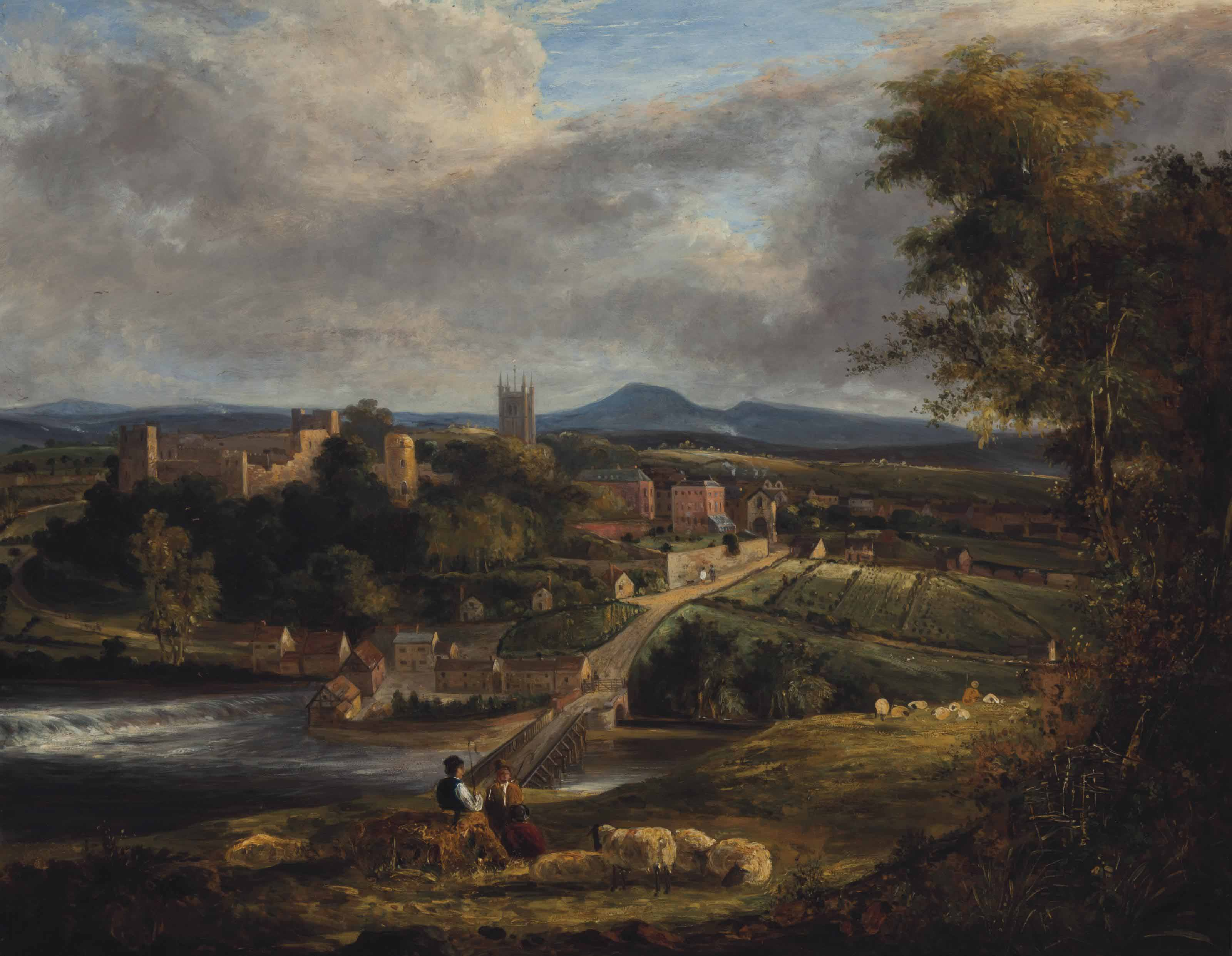 Shepherds resting on a hillside with a riverside town beyond