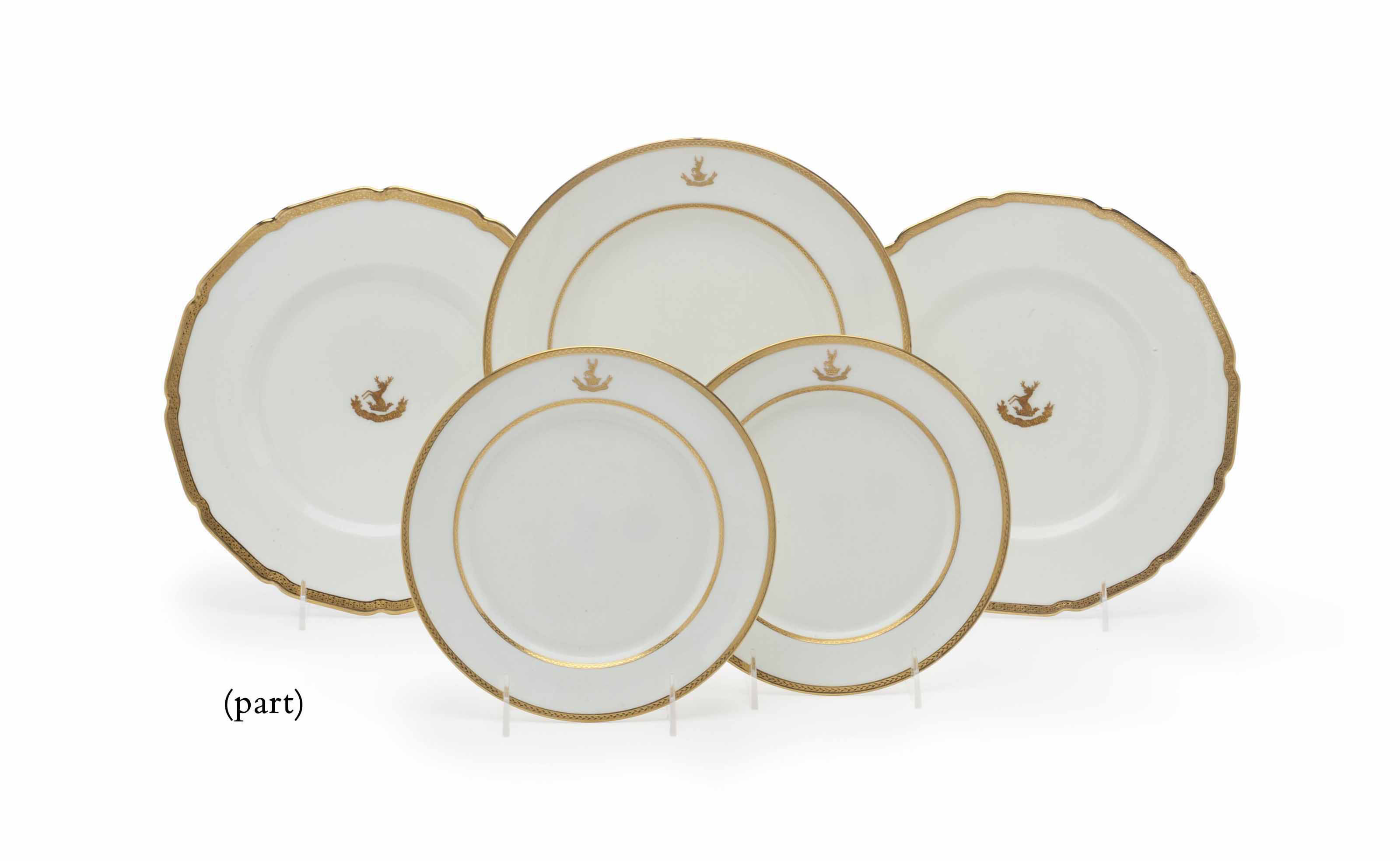SEVENTY-FOUR ROYAL DOULTON CRESTED DINNER AND SIDE PLATES