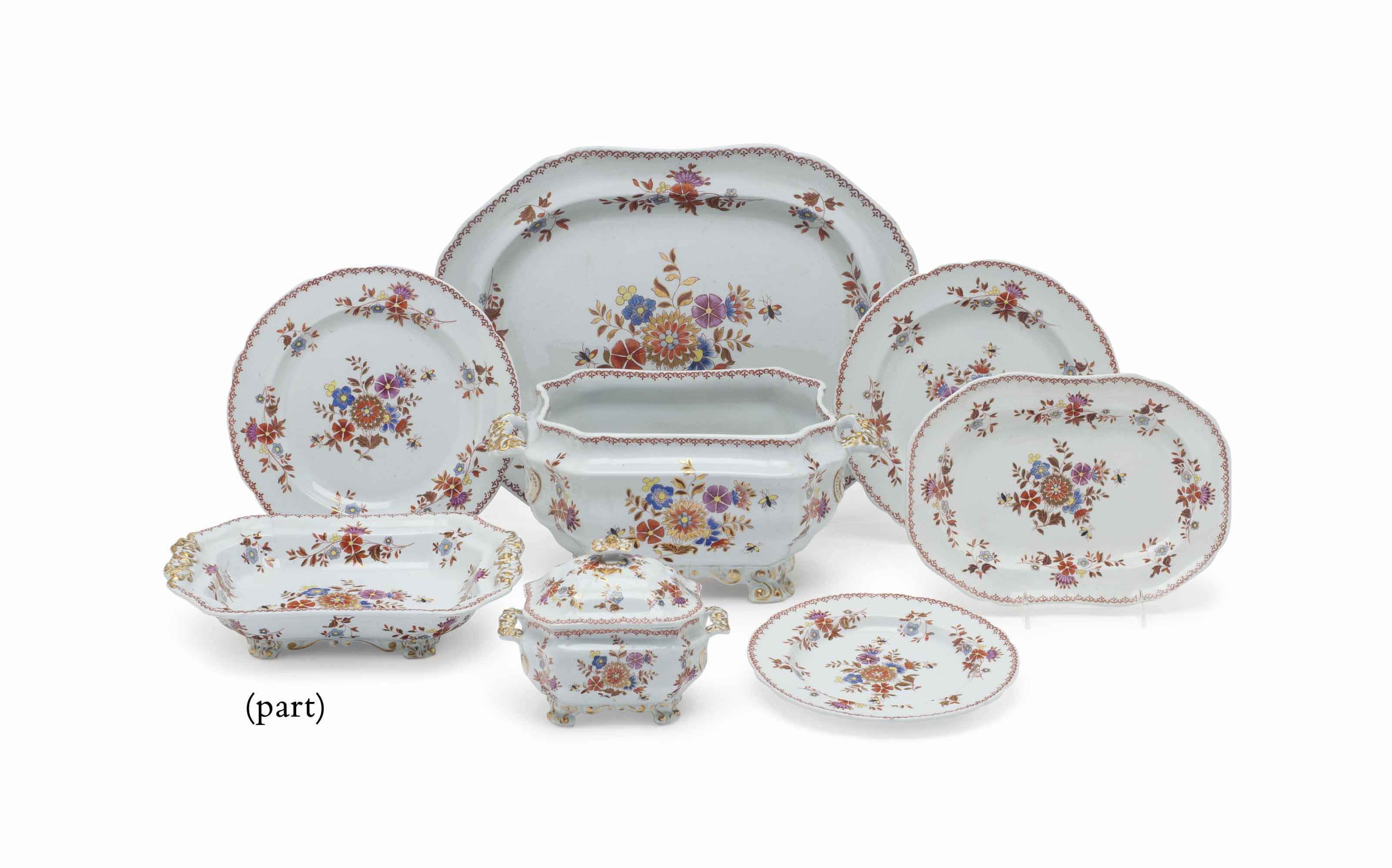 A SPODE NEW STONE CHINA PART DINNER SERVICE