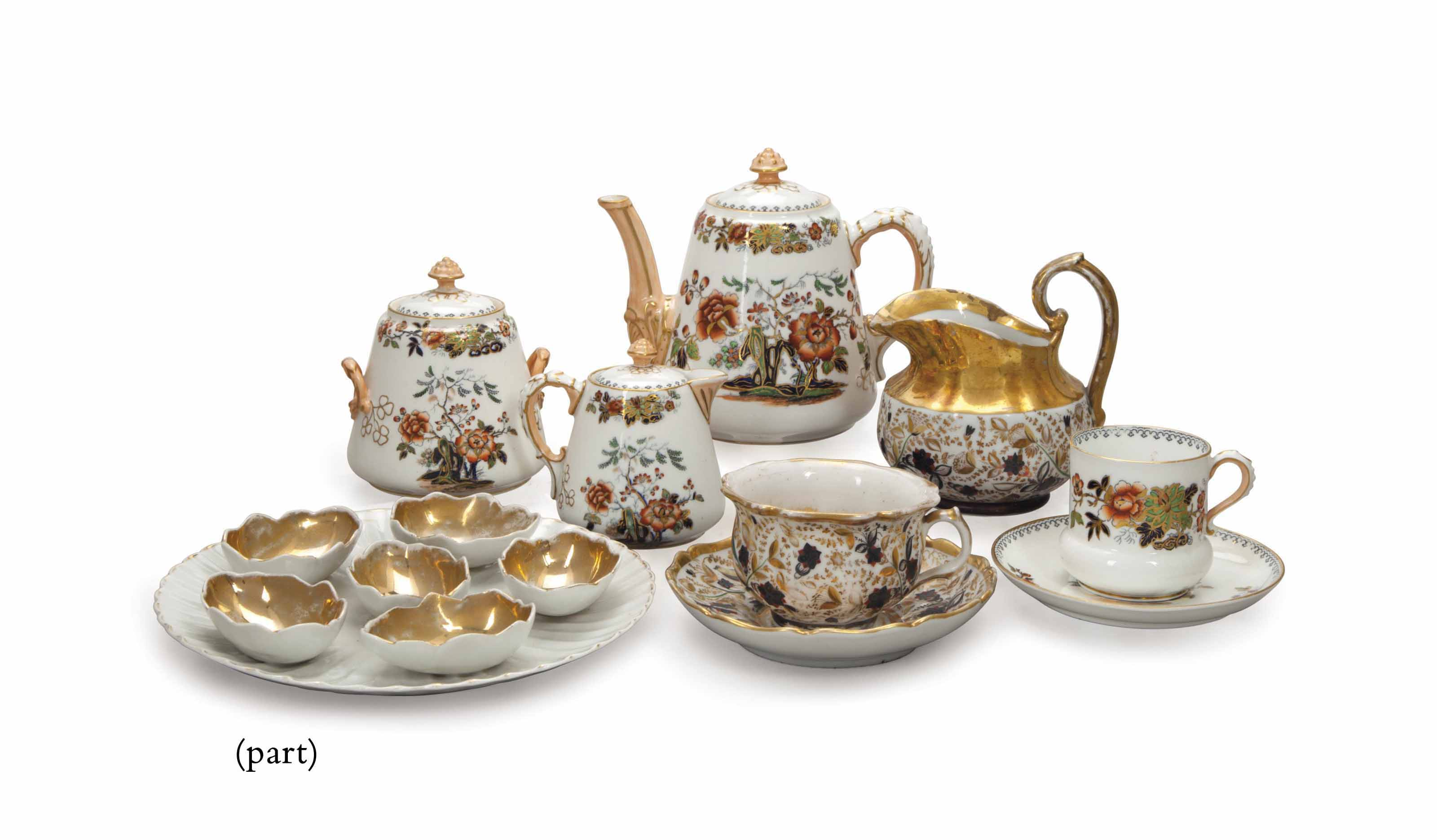 AN ASSEMBLED ENGLISH AND RUSSIAN PORCELAIN TEA SERVICE