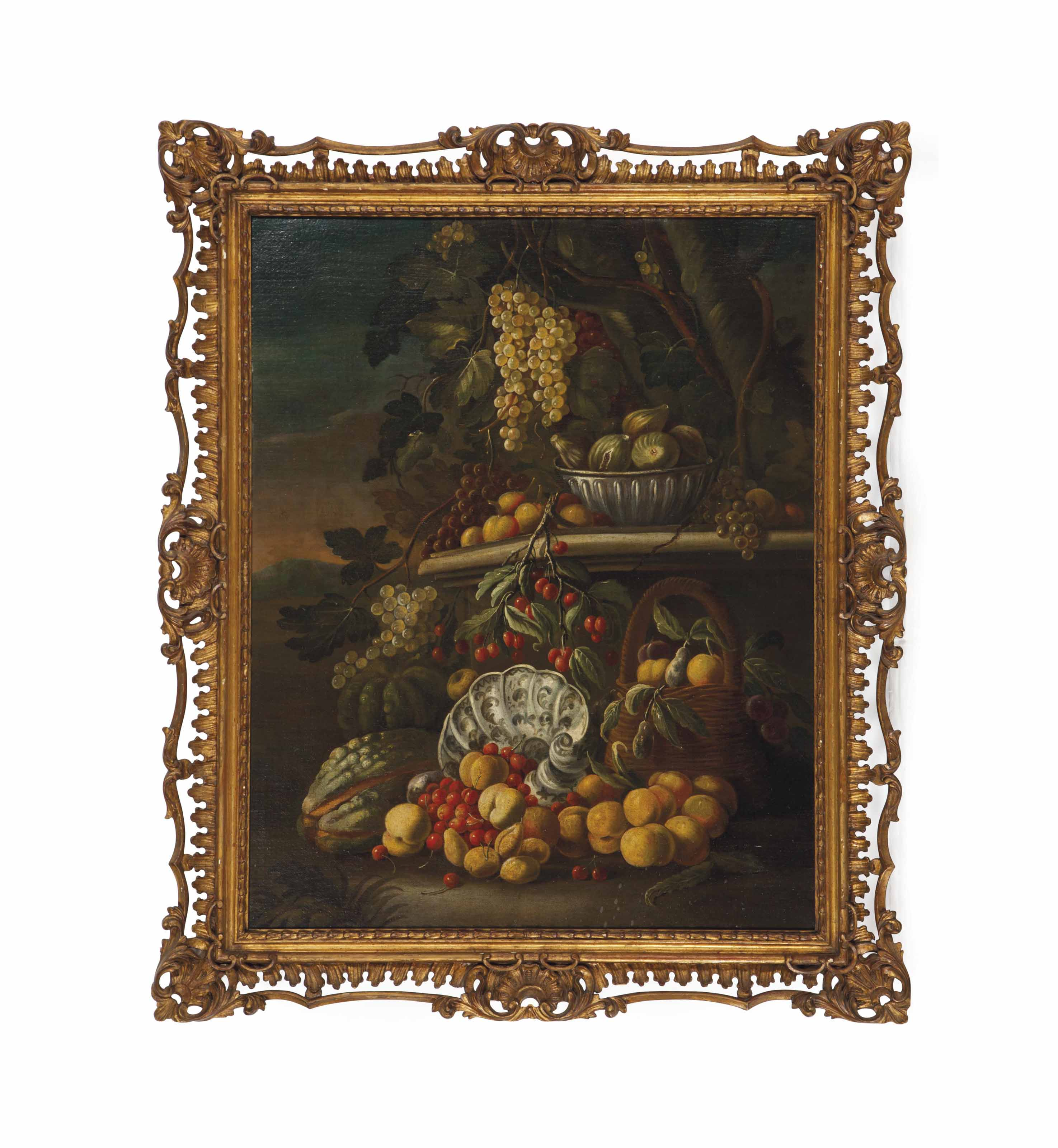 Still life with fruits in a garden