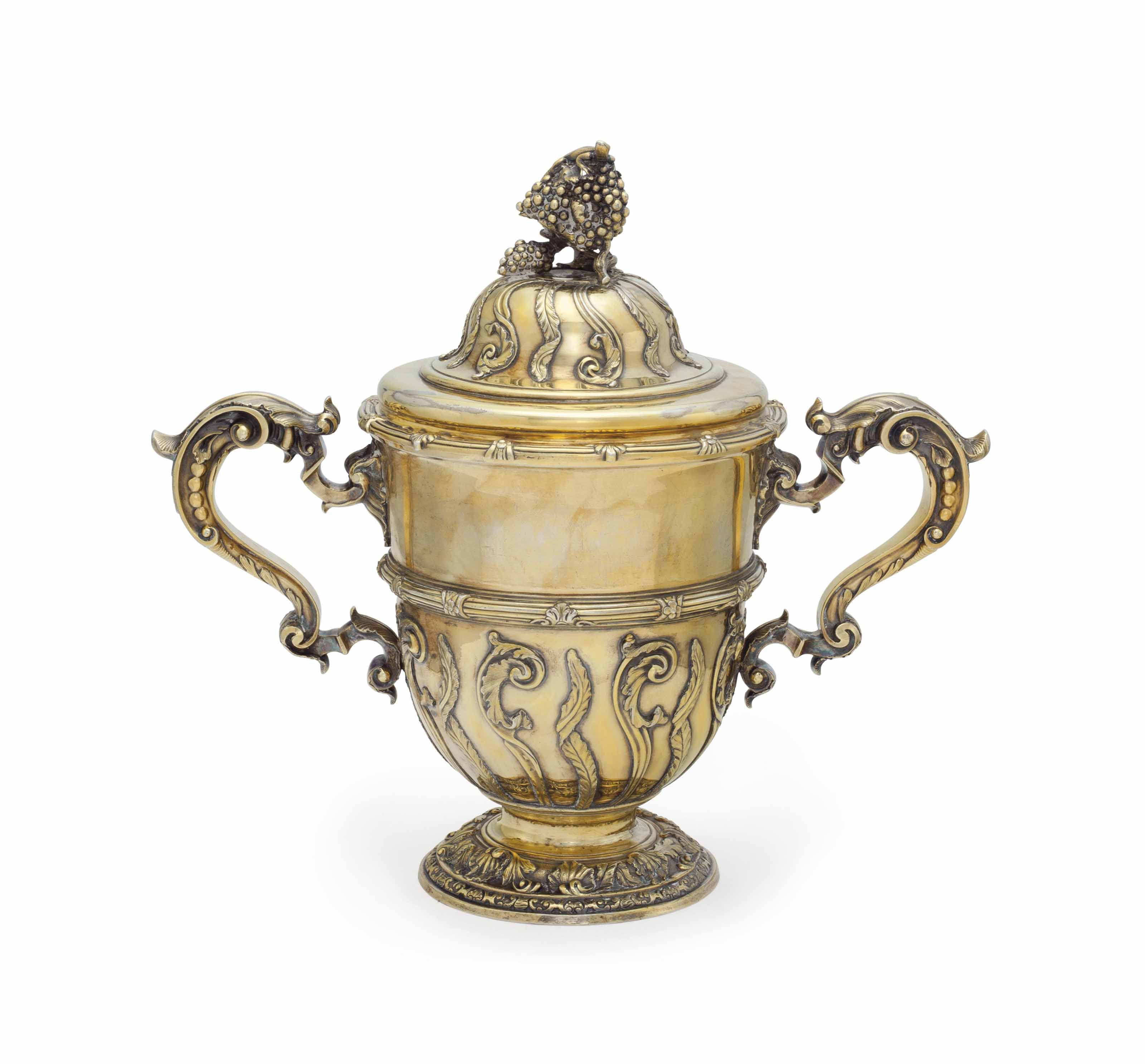 A GEORGE II SILVER-GILT TWO-HANDLED CUP AND COVER