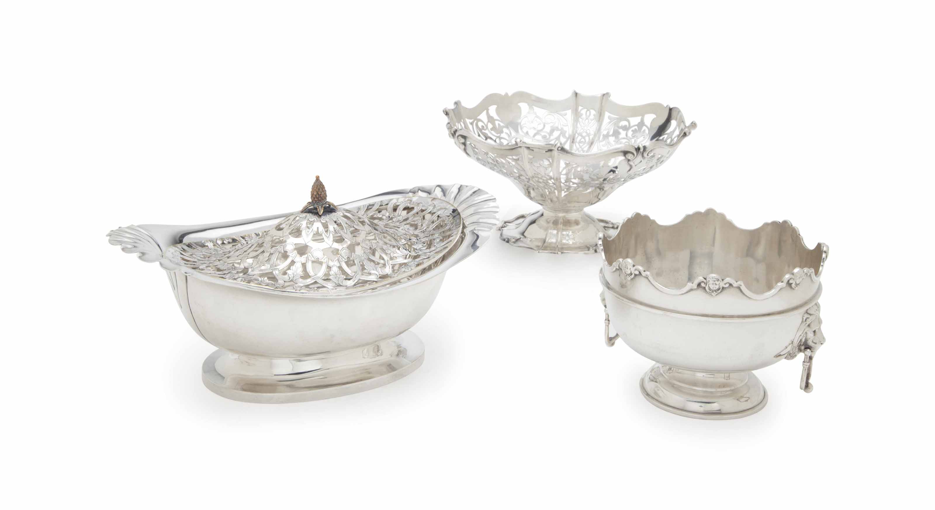 TWO ENGLISH SILVER BOWLS, AND AN AMERICAN SILVER OVAL BOWL