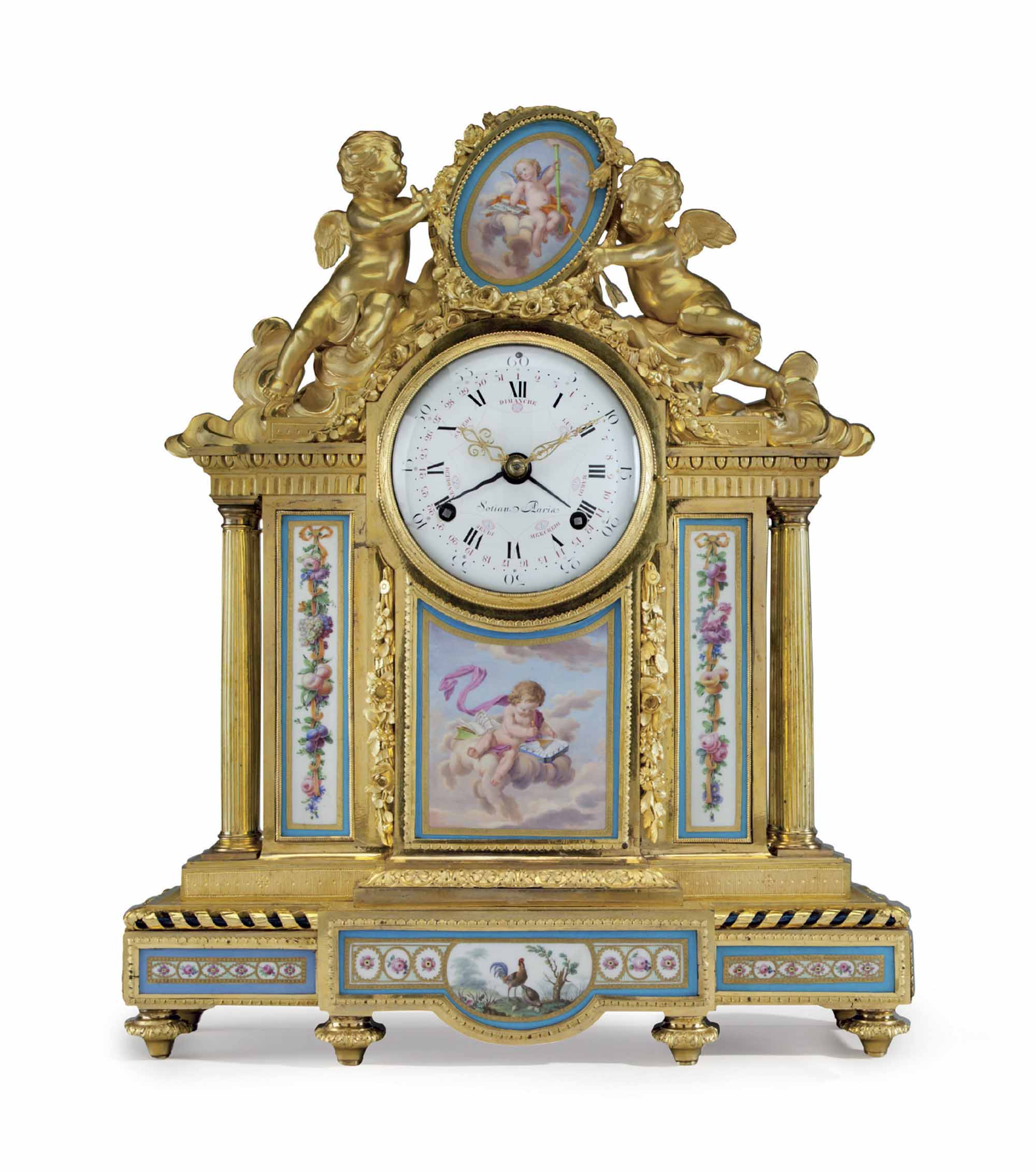 A LOUIS XVI ORMOLU AND SEVRES PORCELAIN MANTEL CLOCK