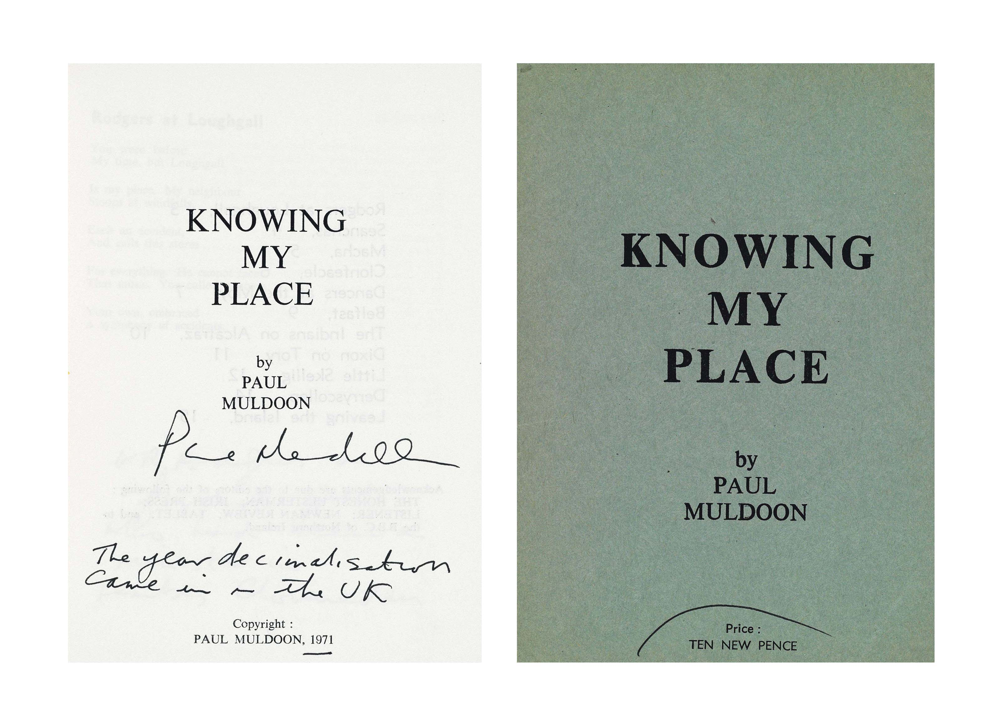 MULDOON, Paul (b. 1951). Knowi