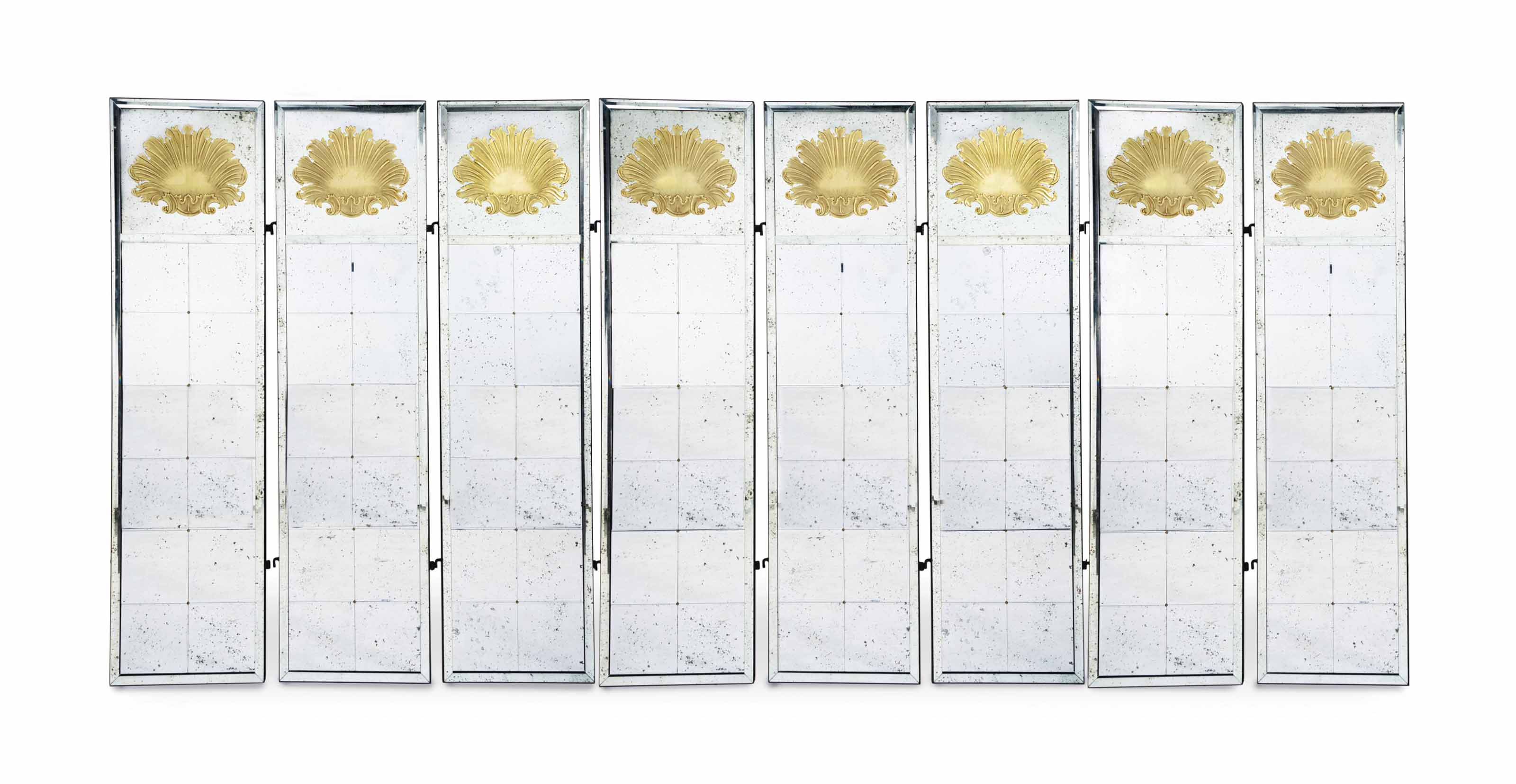 A GILT- DECORATED MIRROR GLASS EIGHT PANEL FLOOR SCREEN