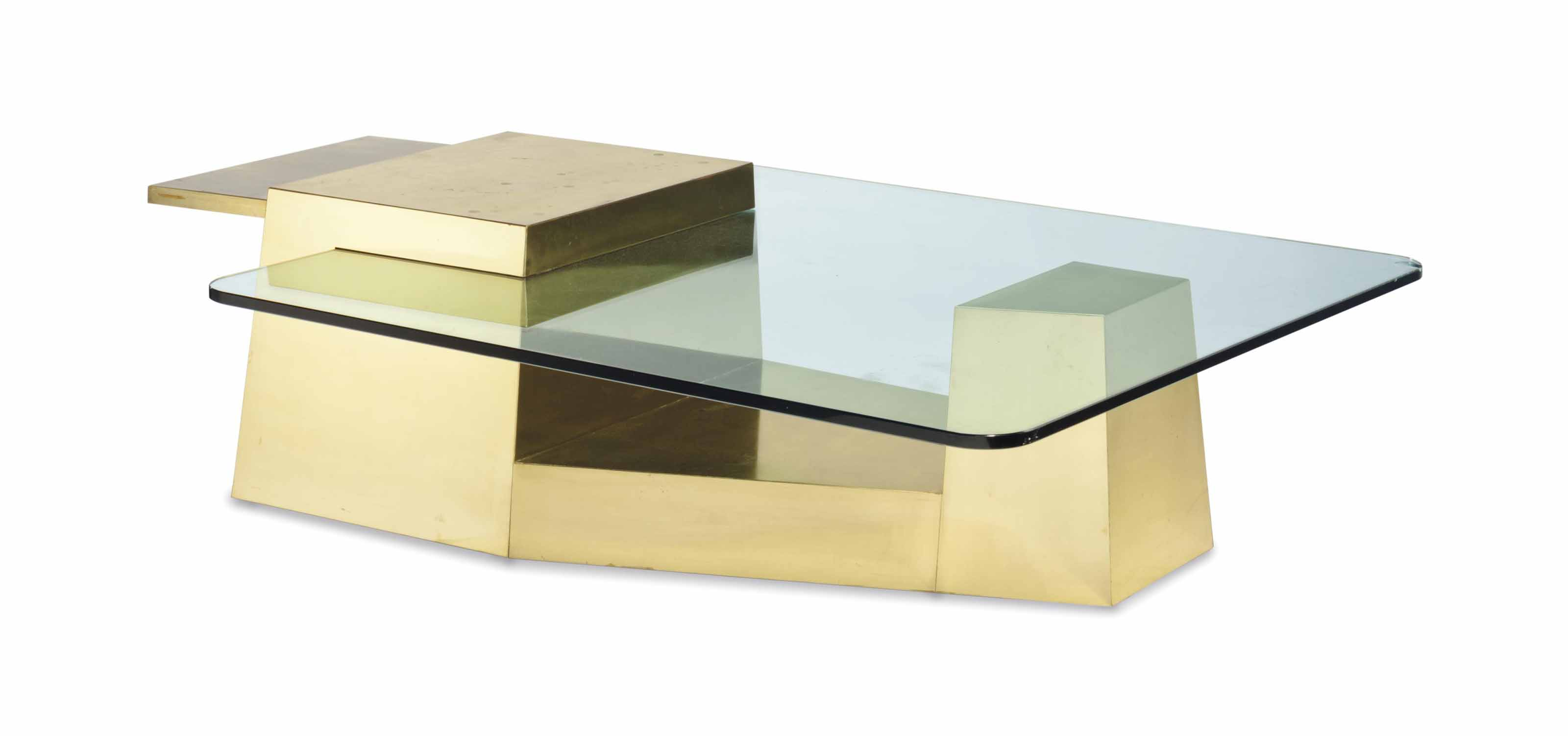 A GOLD-PAINTED AND GLASS LOW TABLE,