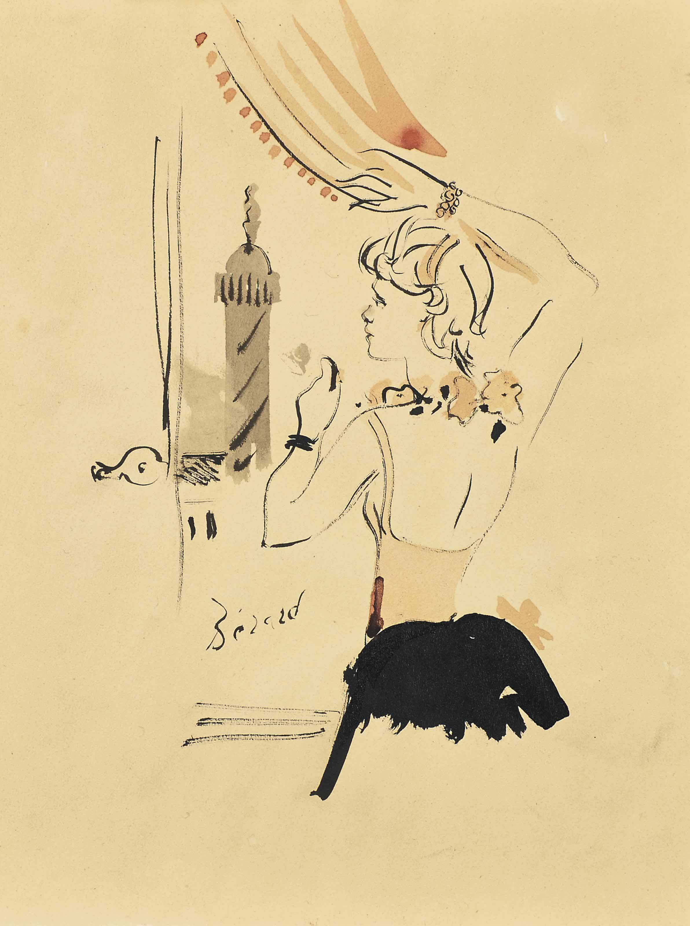 Jeune femme regardant la colonne Vendôme par la fenêtre du studio d'Elsa Schiaparelli