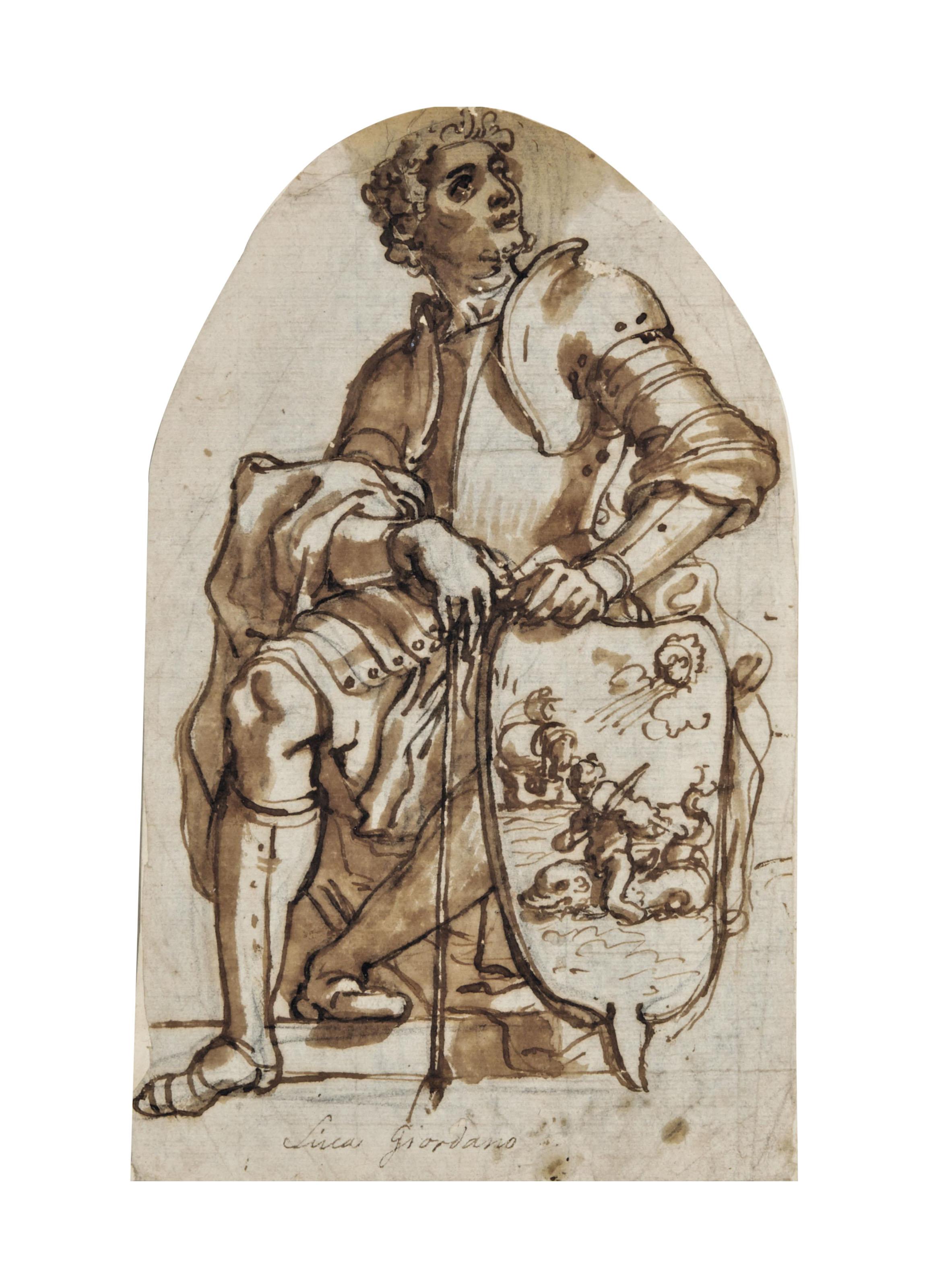 Guerrier en armure assis tenant un écu représentant l'allégorie de l'âme fortunée