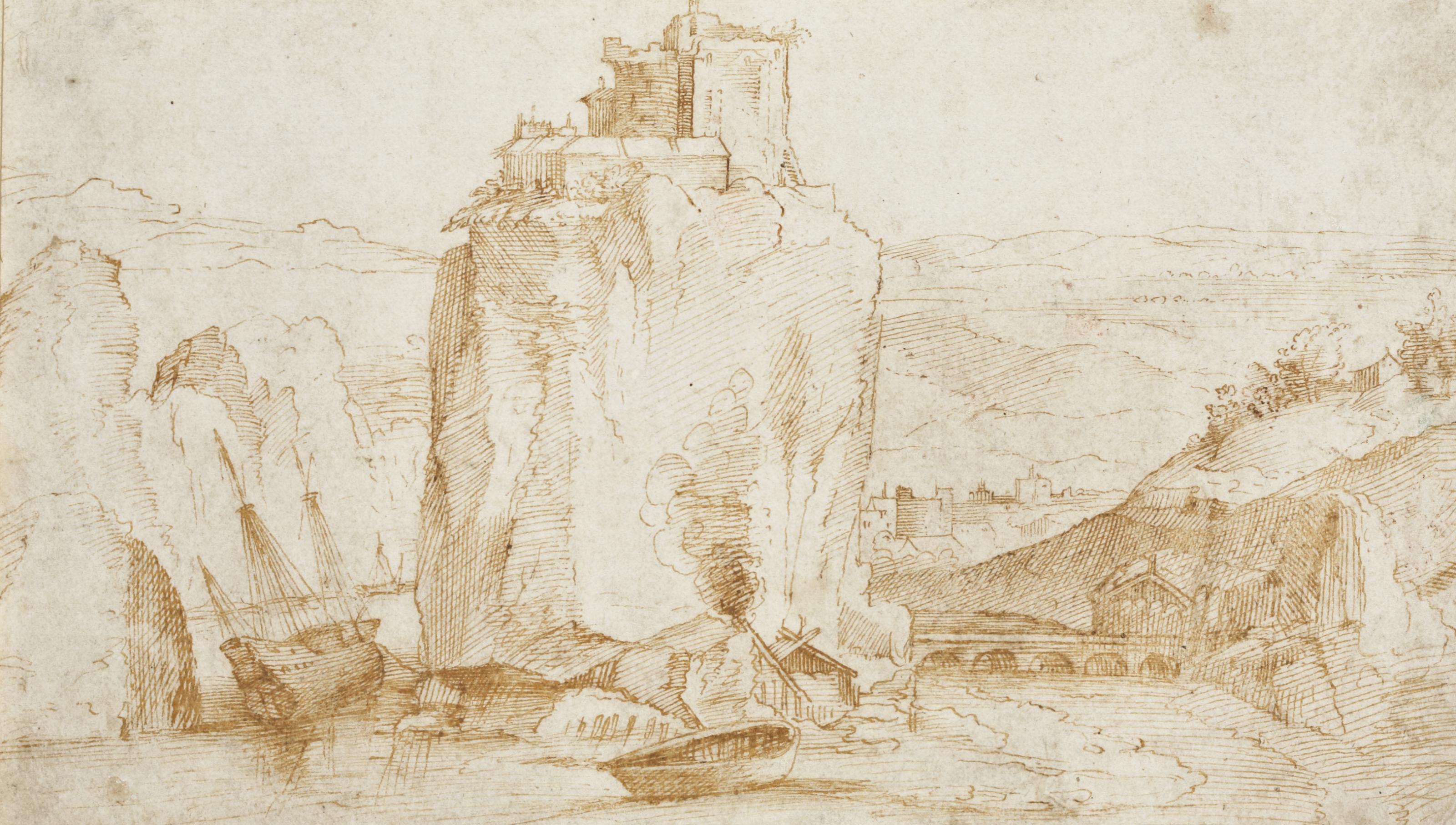 Forteresse dans un paysage rocheux (recto); Personnages (verso)