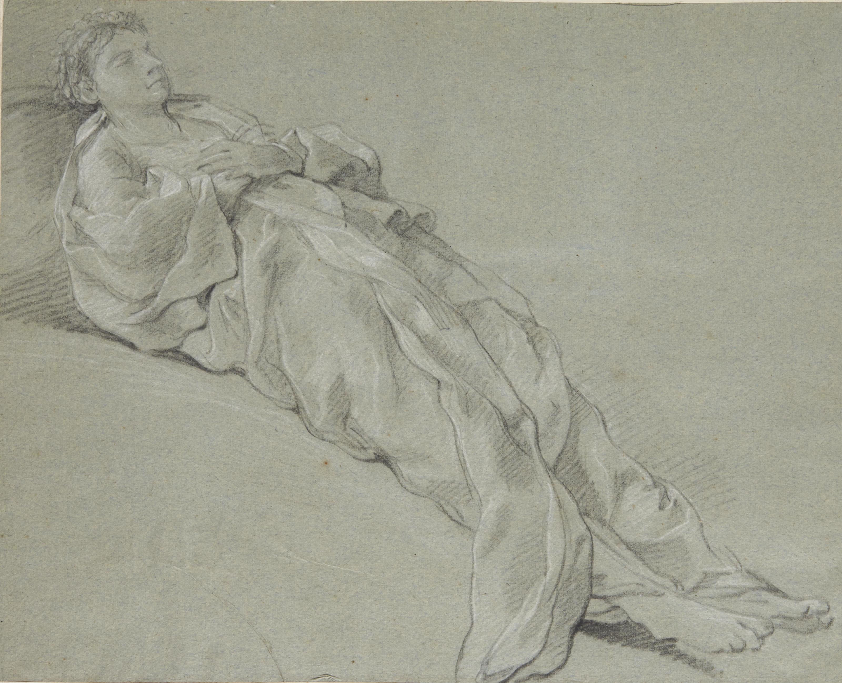 Figure de femme drapée et allongée, les yeux fermés, les bras croisés sur son ventre