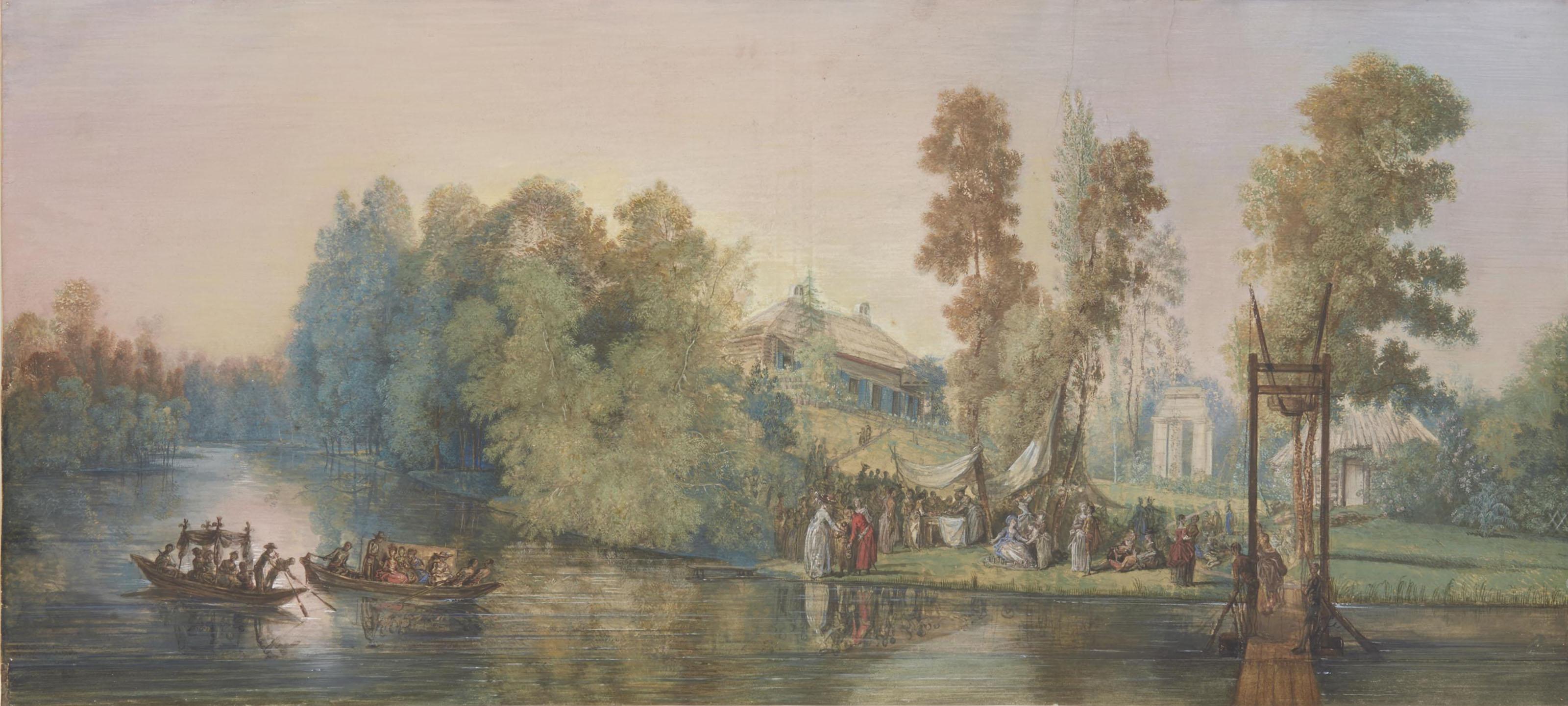 Scène galante: pique-nique au bord d'un lac