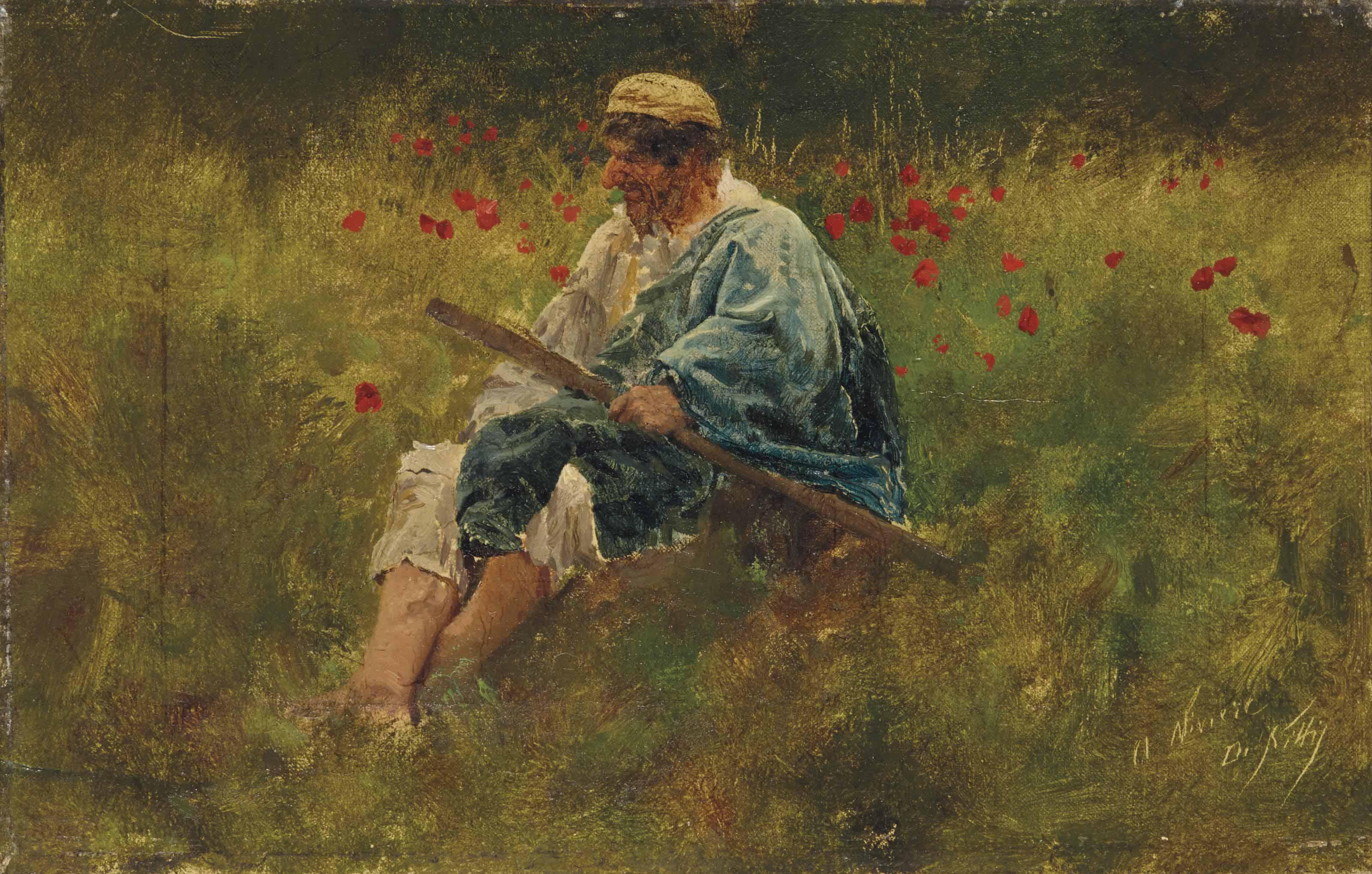 Un berger dans un champ